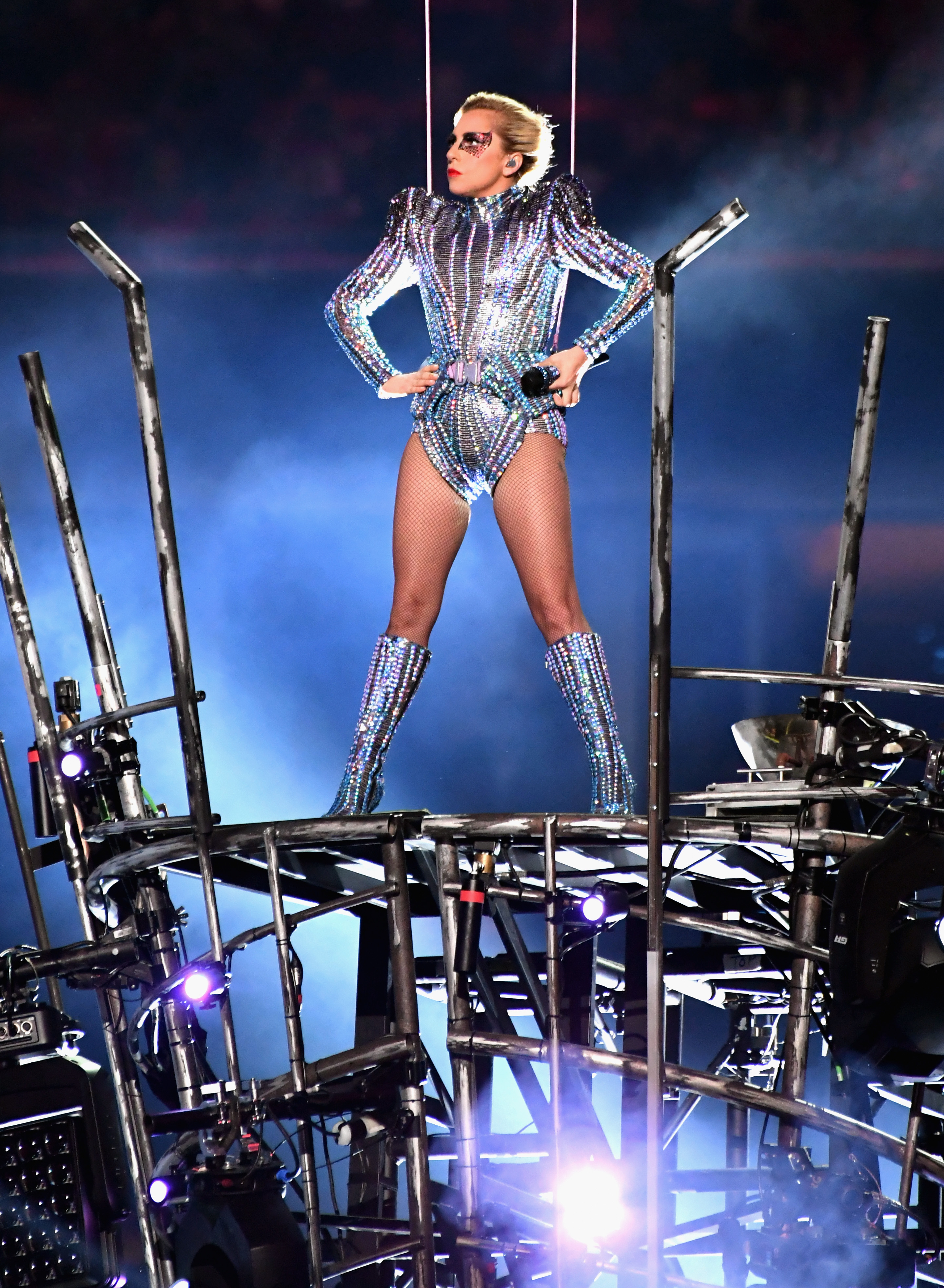 HOUSTON, TX - FEBRUARY 05: Musician Lady Gaga performs onstage during the [f500link]Pepsi[/f500link] Zero Sugar Super Bowl LI Halftime Show at [f500link]NRG[/f500link] Stadium on February 5, 2017 in Houston, Texas. (Photo by Jeff Kravitz/FilmMagic)