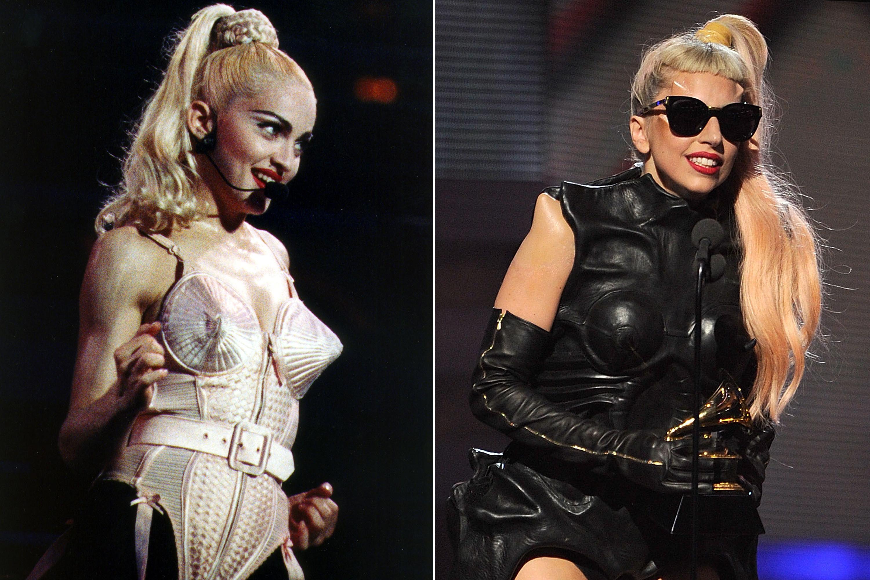 Madonna, 1990; Lady Gaga, 2011.