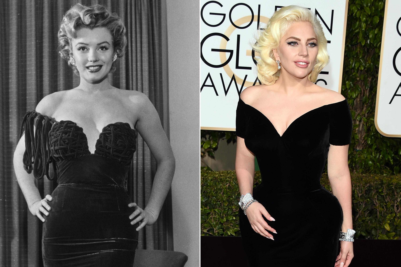 Marilyn Monroe, c. 1955; Lady Gaga, 2016.