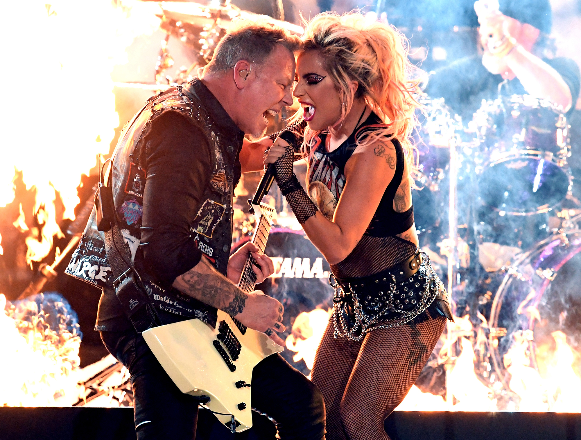 James Hetfield and Lady Gaga perform during the 59th GRAMMY Awards at STAPLES Center, on Feb. 12, 2017 in Los Angeles.