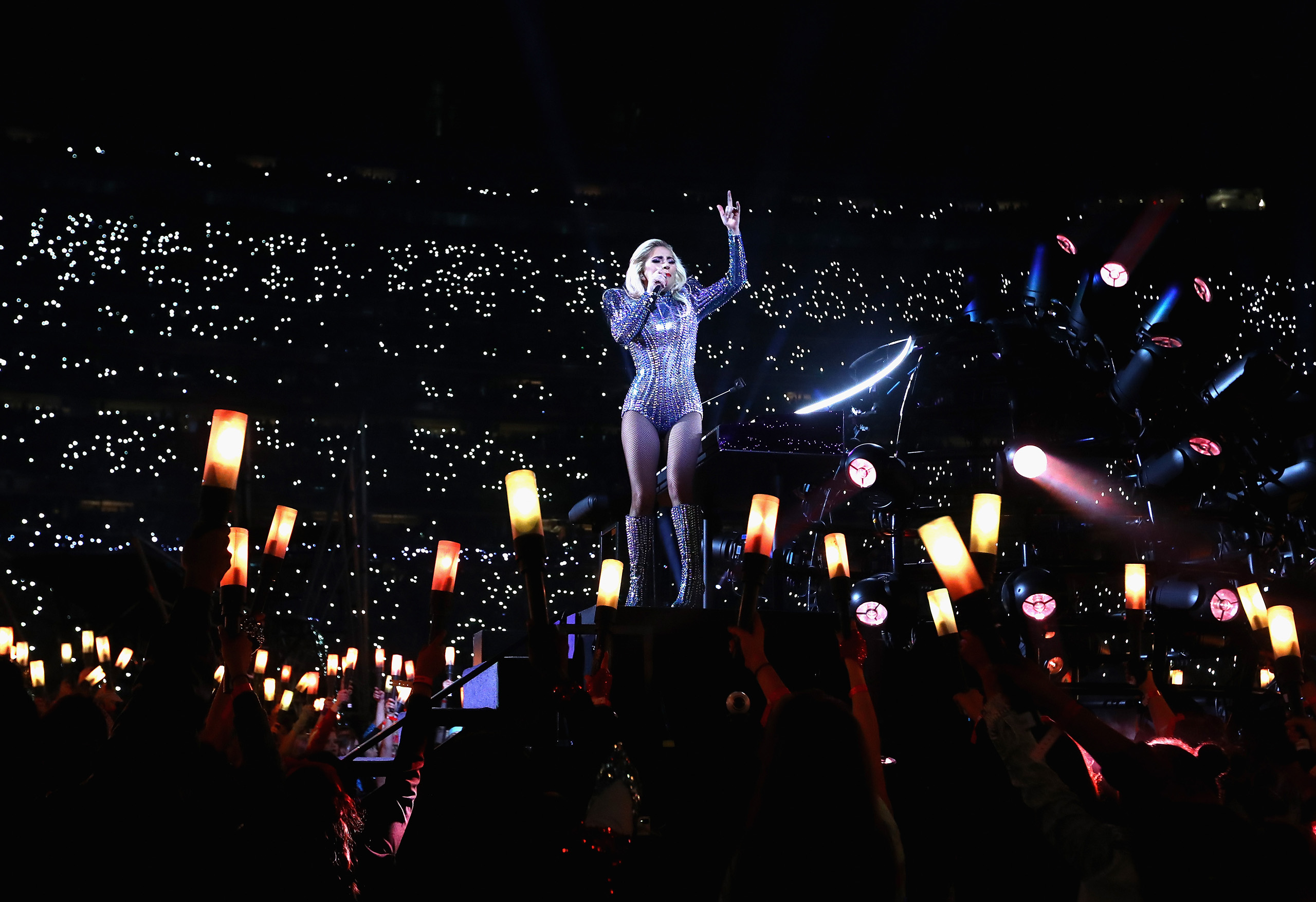 Lady Gaga performs during the Pepsi Zero Sugar Super Bowl 51 Halftime Show at NRG Stadium in Houston on Feb. 5, 2017