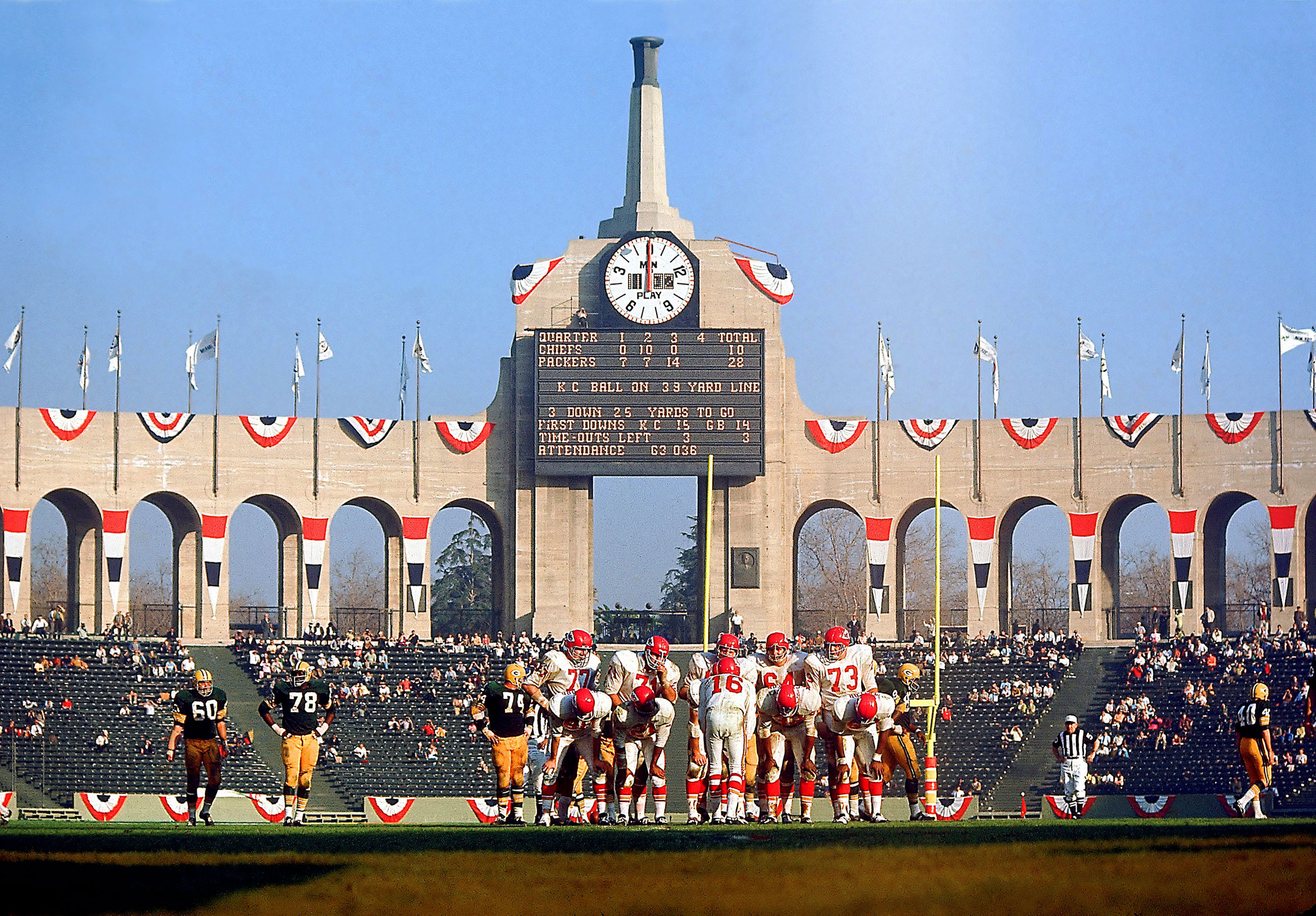 Super Bowl I, Jan. 15, 1967                   Kansas City Chiefs vs. Green Bay Packers in Los Angeles