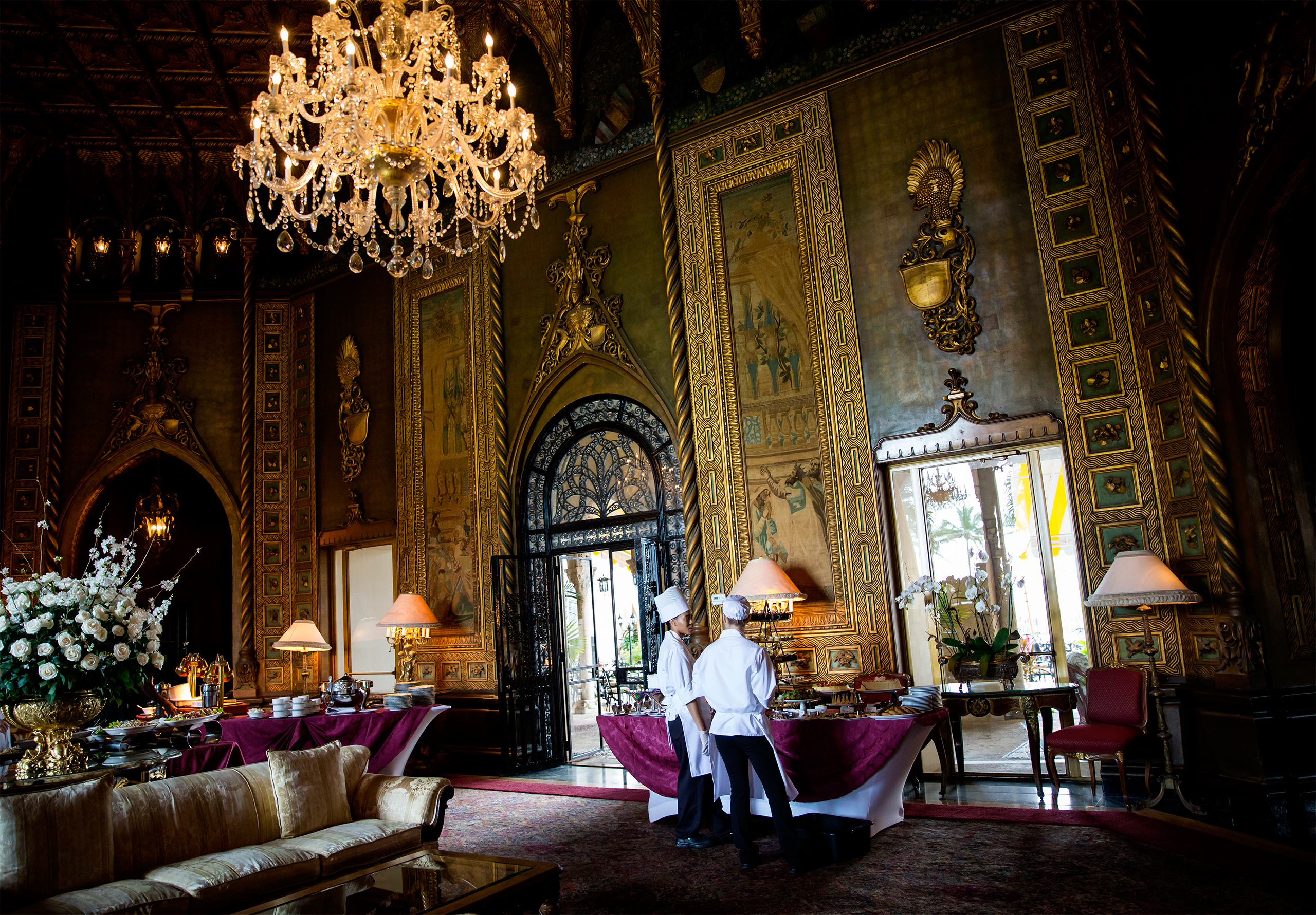 The main living room in Donald Trump's Mar-a-Lago estate in Palm Beach, Fla., March 4, 2016.