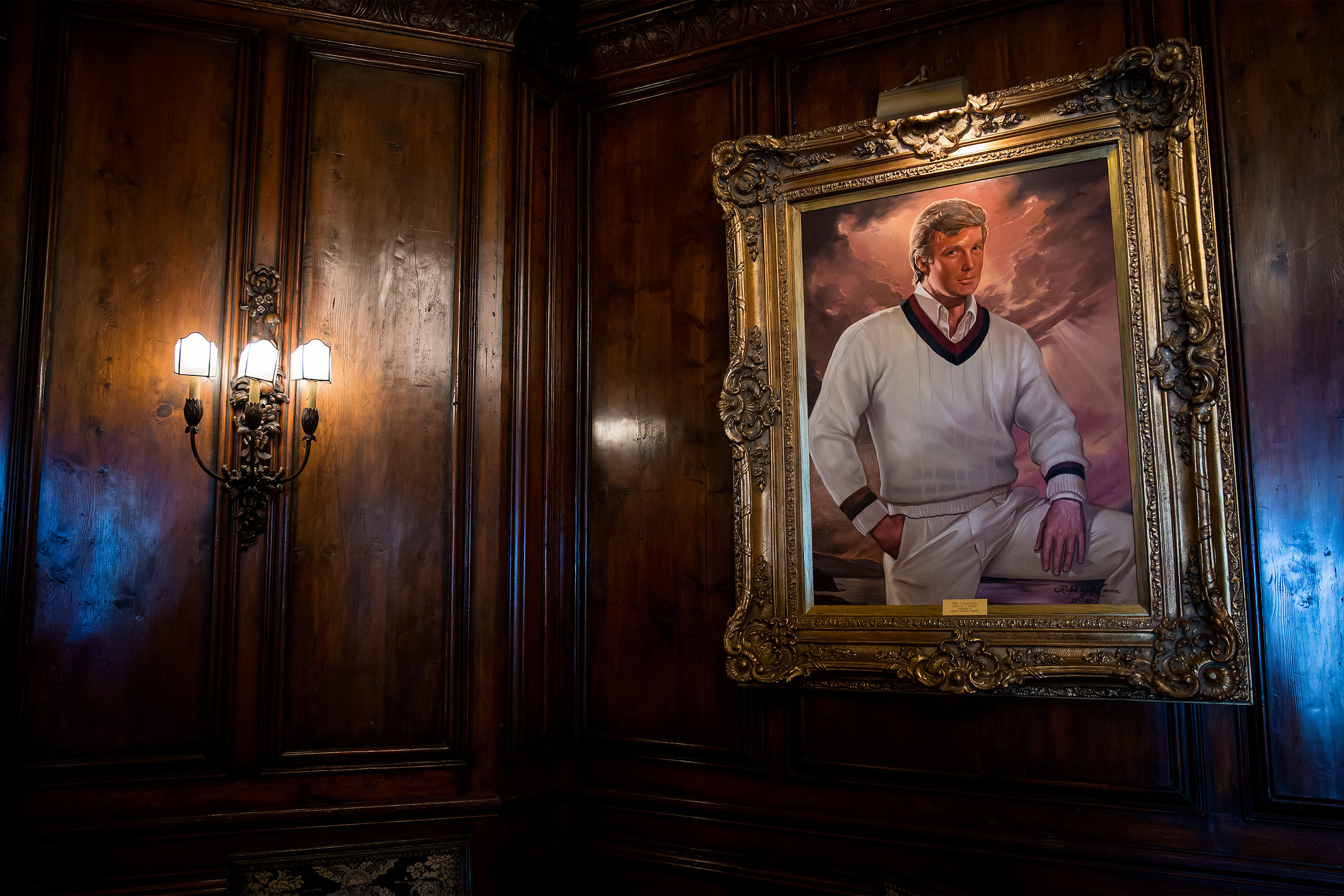 A portrait of Donald Trump hangs in the bar at the Mar-a-Lago estate on March 4, 2016.