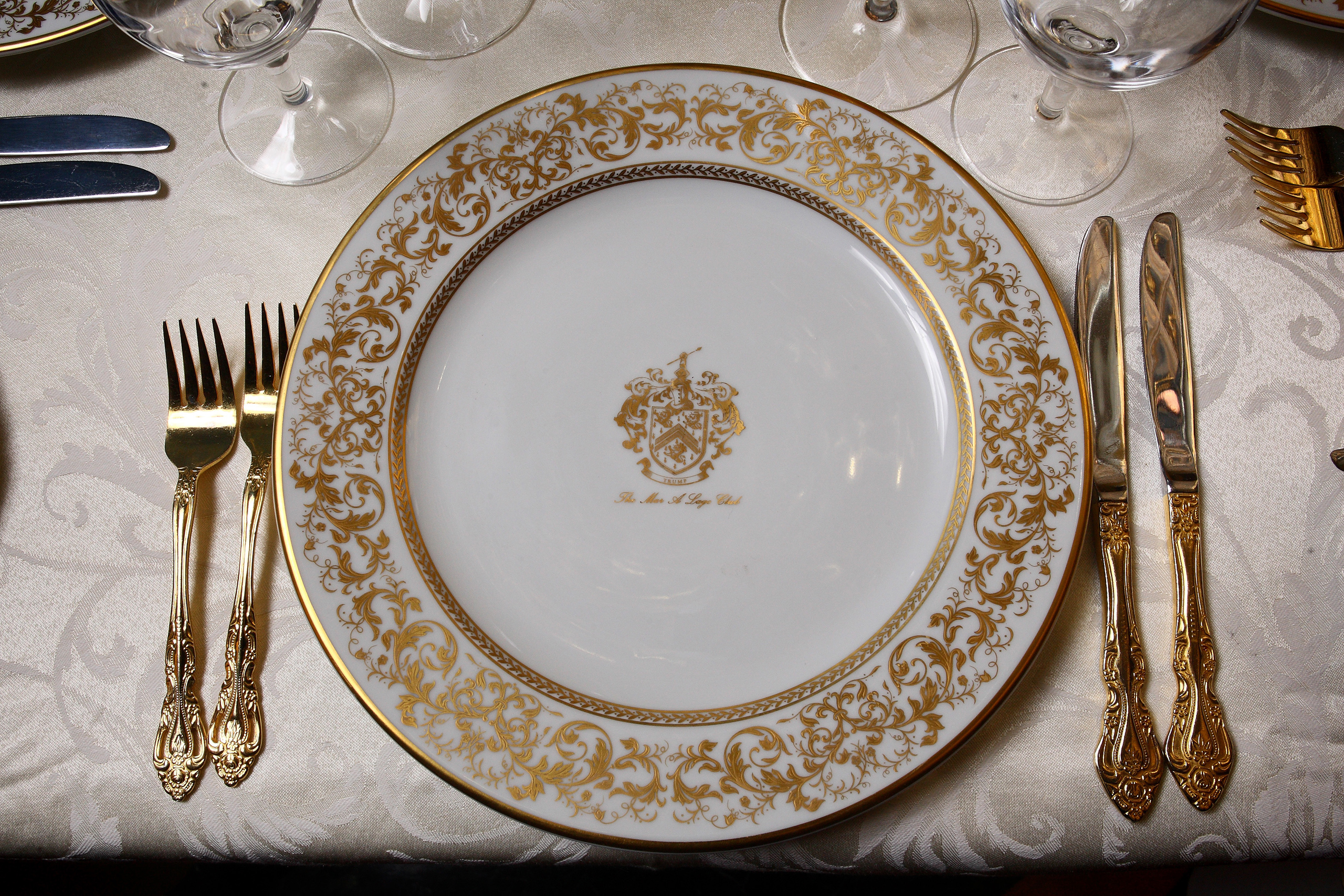 A table setting in the main living room inside Mar-a-Lago on April 11, 2009.