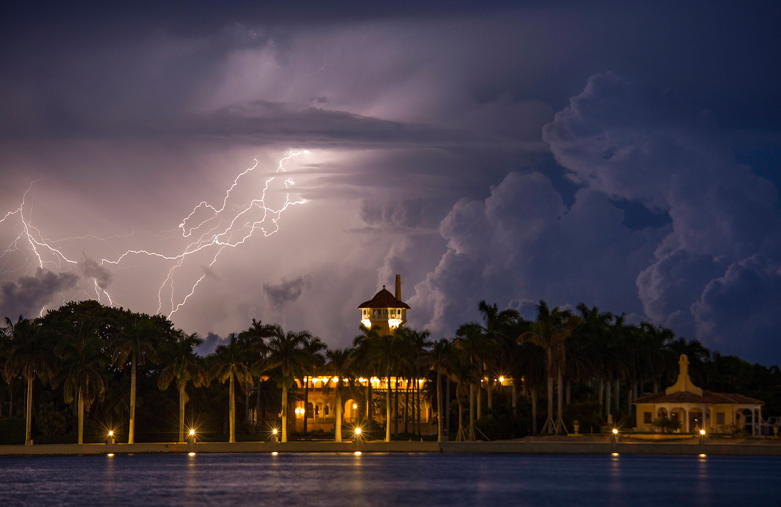Lightning flashes in the sky over Mar-a-Lago on July 30, 2015.