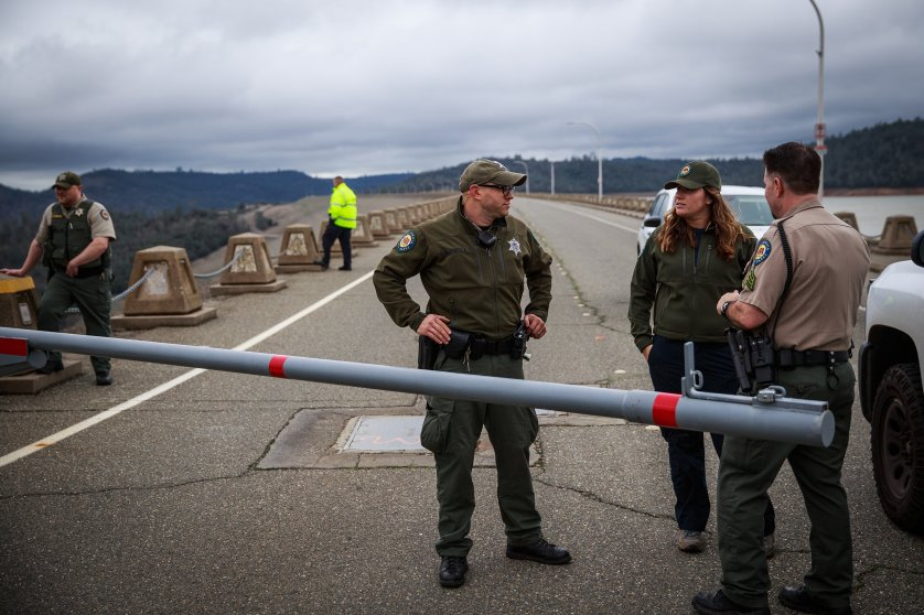 California State Park Rangers close the top of Oroville Dam after a hole was torn in the spillway while releasing water in advance of more rain on Feb. 7, 2017 in Oroville, California.