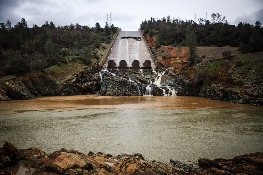 A hole was torn in the spillway of the Oroville Dam while releasing approximately 60,000 cubic-feet-second of water in advance of more rain in Oroville, California, on Feb. 7, 2017.