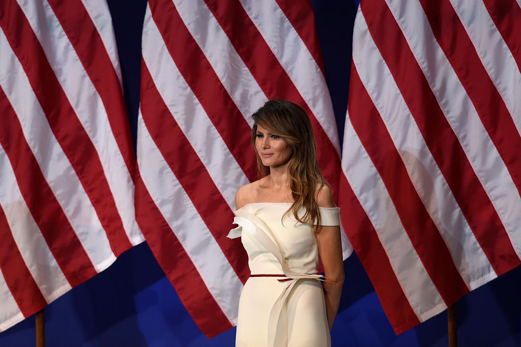 First Lady Melania Trump is seen the Salute to Our Armed Services Inaugural Ball at the National Building Museum in Washington on Jan. 20, 2017.
