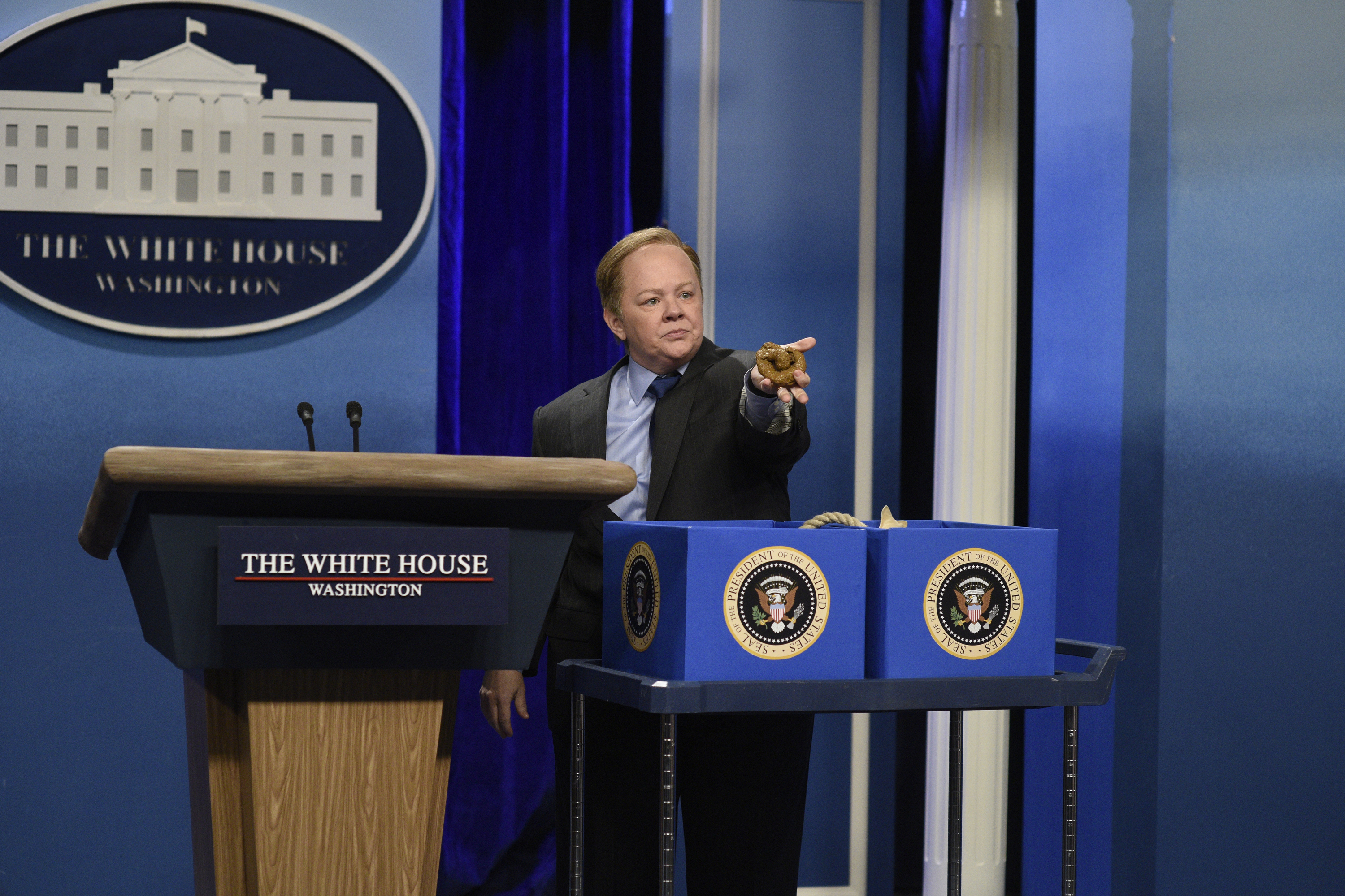 Melissa McCarthy as Press Secretary Sean Spicer during the  Sean Spicer Press Conference  sketch on Feb. 4, 2017.