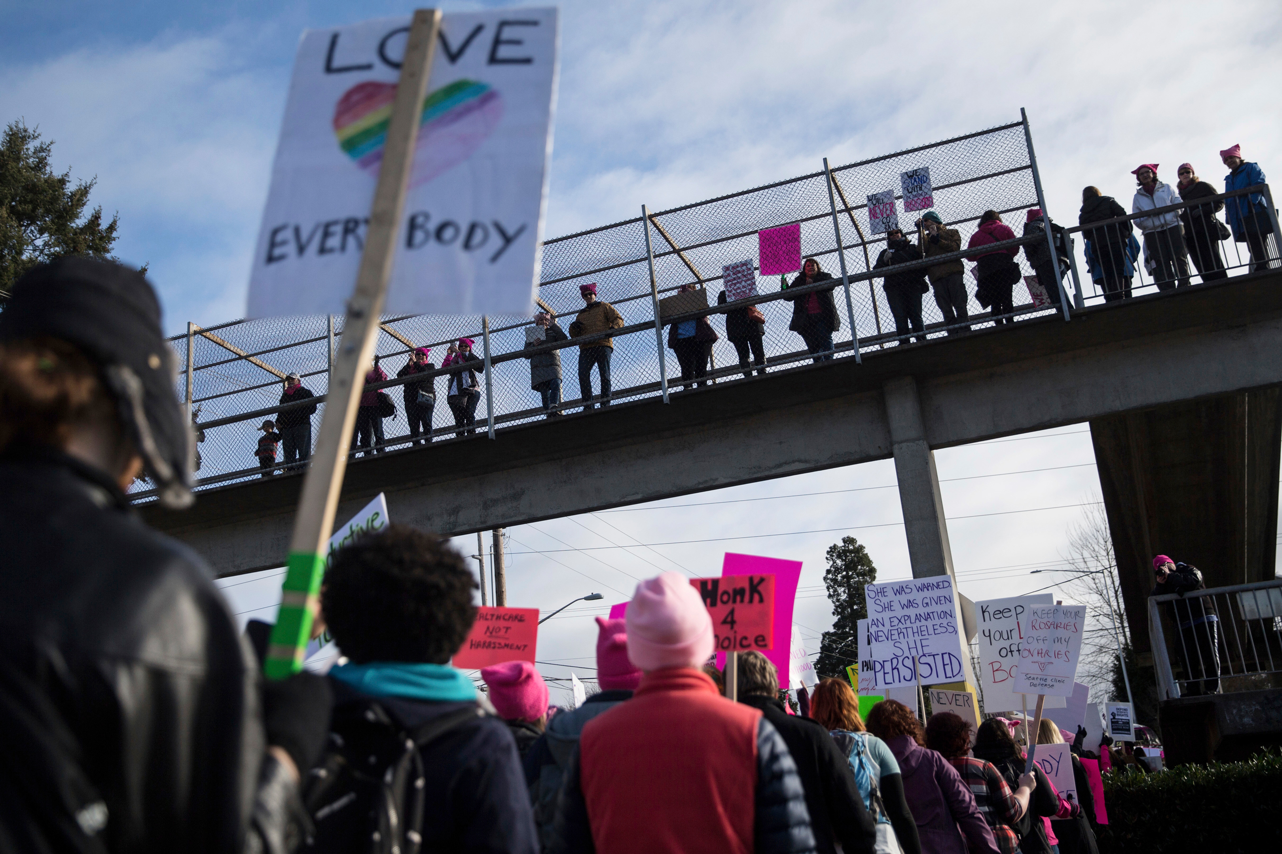 Demonstrators gathered to counter a defund Planned Parenthood protest outside a Planned Parenthood in Kent, Wash., on Feb. 11, 2017.