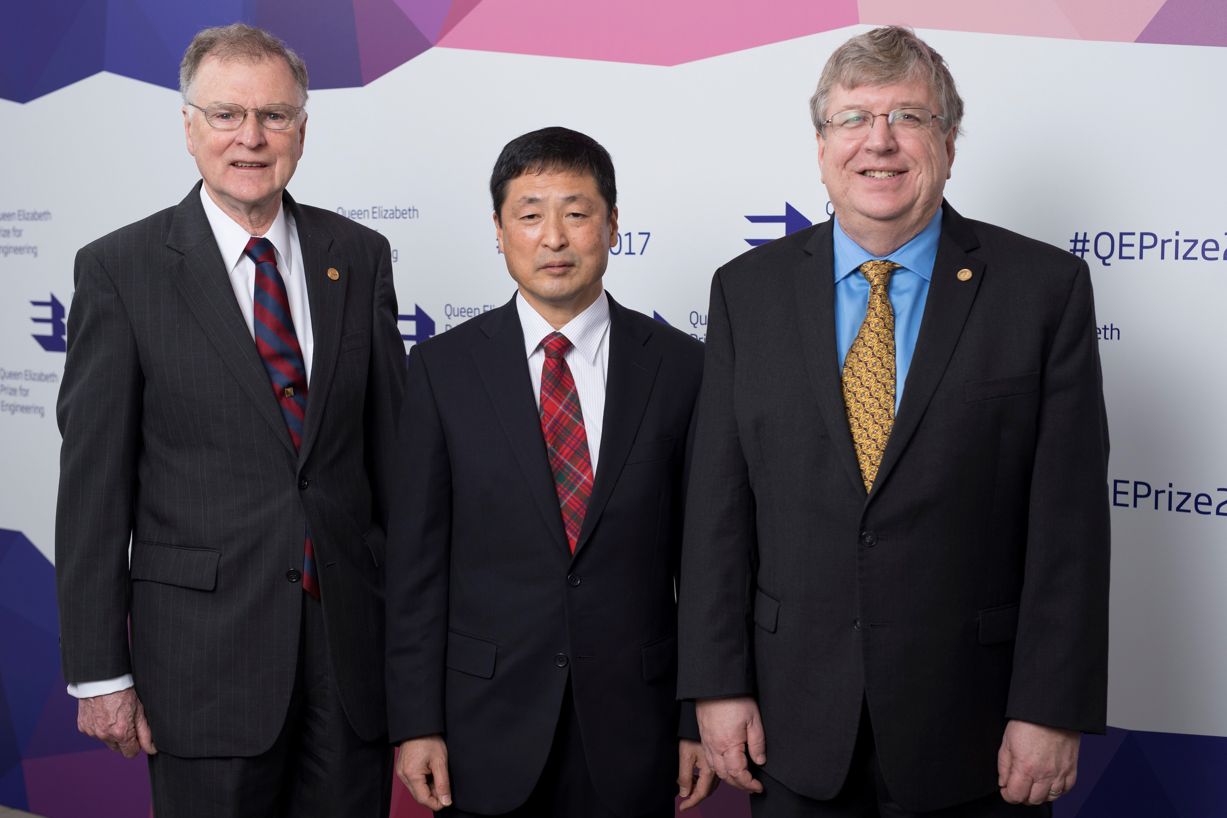 Winners of the Queen Elizabeth Prize for Engineering, announced in London on Feb. 1 2017. L-R: Michael Tompsett (UK) Eric Fossum (USA) and Nobukazu Teranishi (Japan). Along with George Smith (USA) they will share the £1million prize for combined contribution to digital imaging. Their inventions made the selfie possible