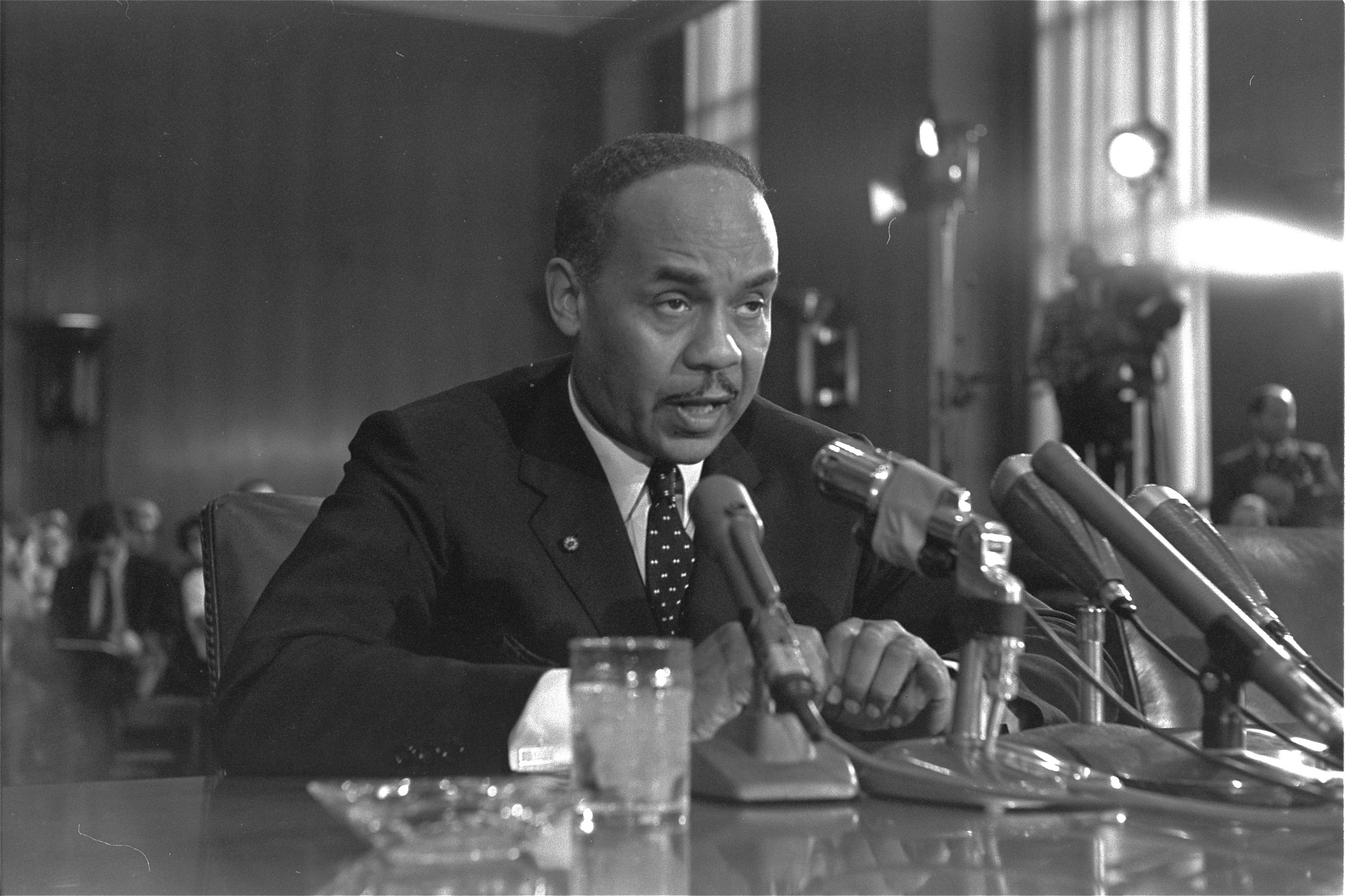 Ralph Ellison at a Senate Subcommittee hearing in Washington during continuing hearings on the racial problems in big cities, on Aug. 30,1966.