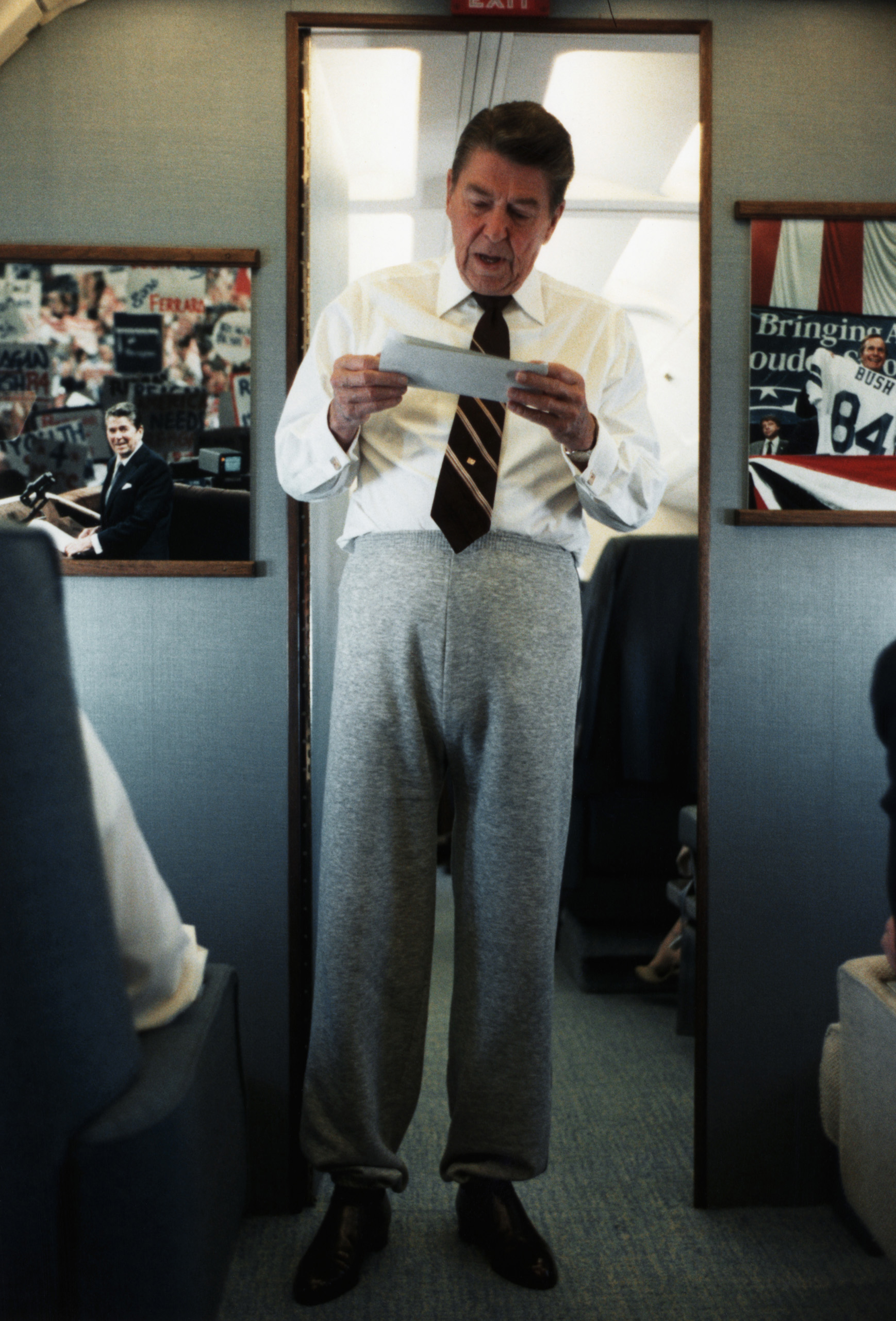 Ronald Reagan in Sweatpants and Tie