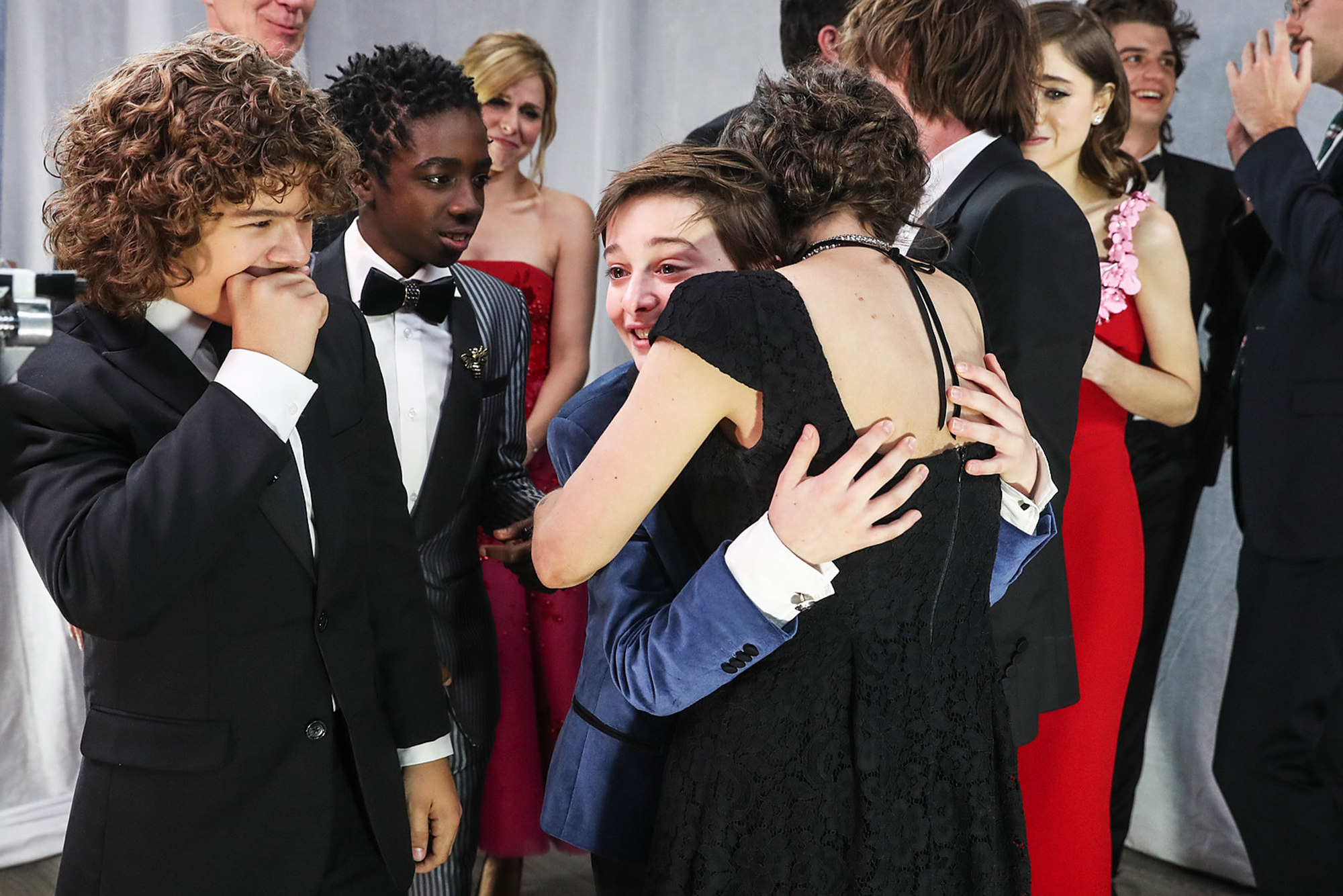 Mark Steger, Caleb McLaughlin, Noah Schnapp and Winona Ryder at the 23rd Annual Screen Actors Guild Awards in Los Angeles, on Jan. 29, 2017.