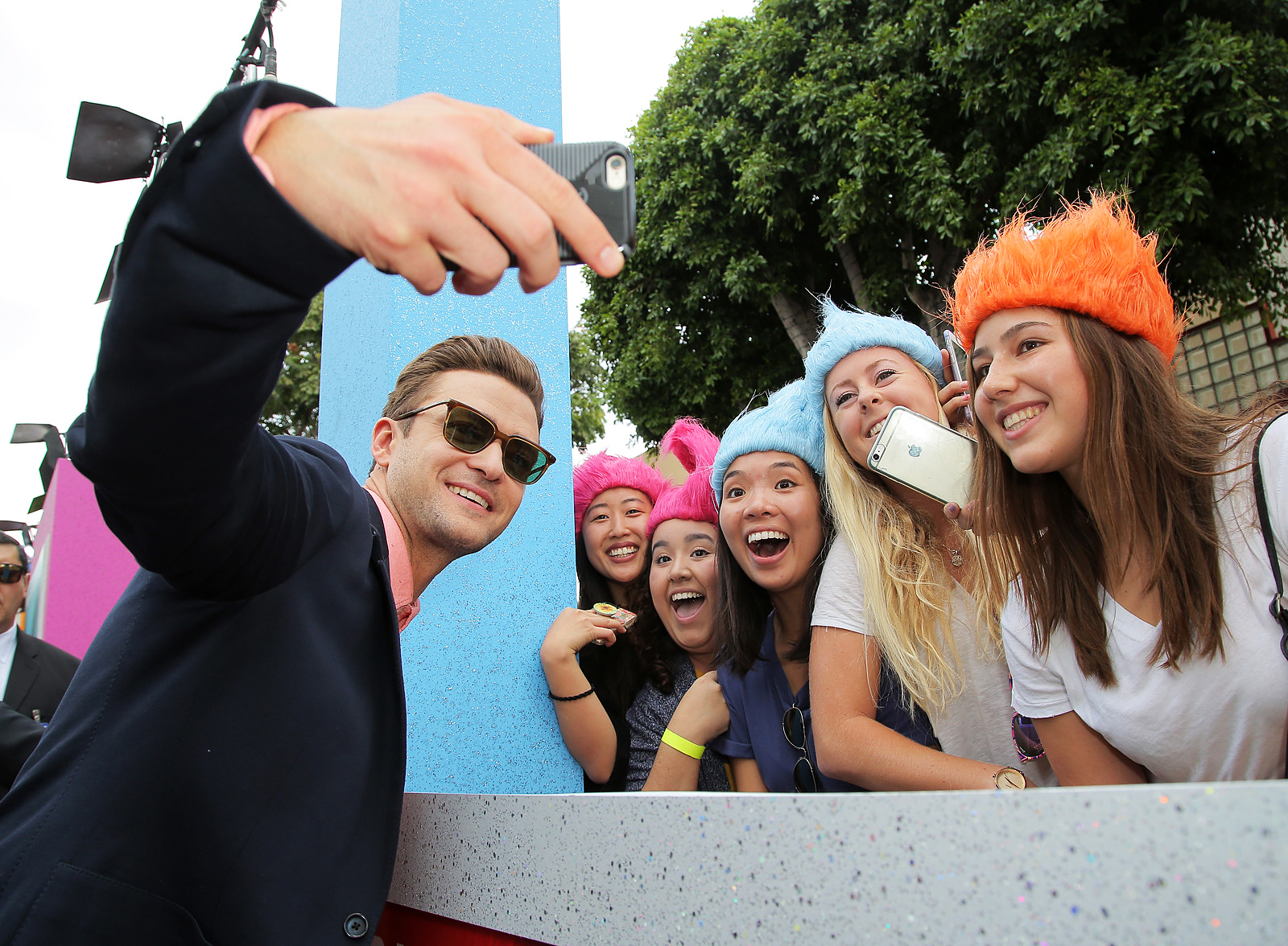 Justin Timberlake and fans at the Trolls film premiere in Los Angeles, on Oct. 23, 2016.