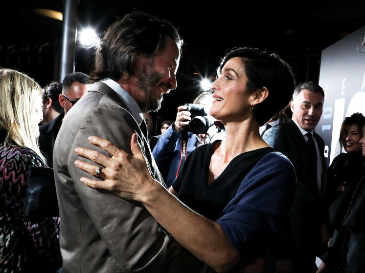 Keanu Reeves and Carrie-Anne Moss at the John Wick: Chapter 2 film premiere in Los Angeles, on Jan. 30. 2017.
