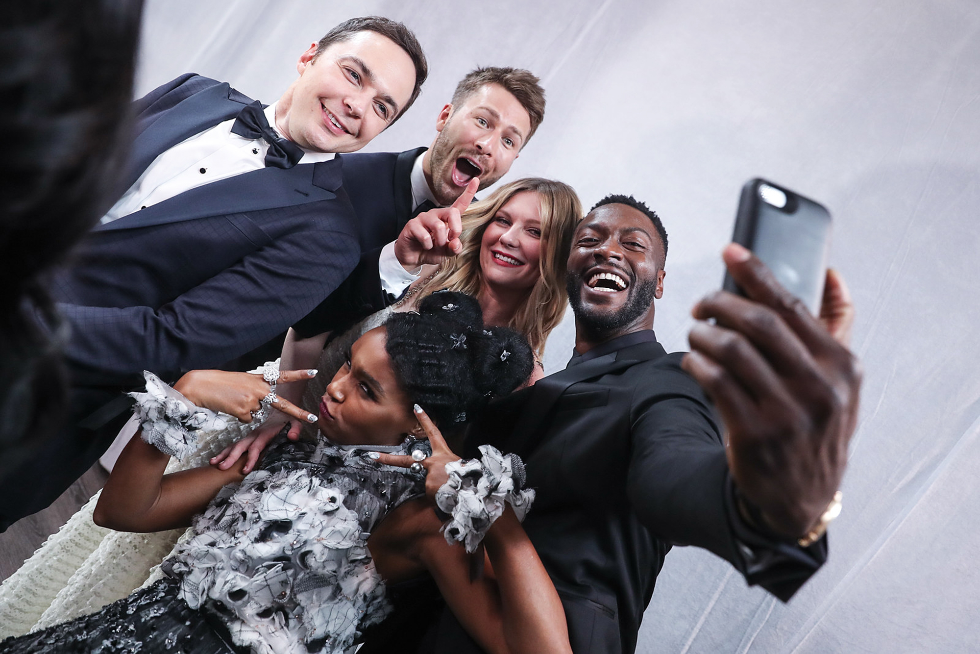 Jim Parsons, Glen Powell, Kirsten Dunst, Aldis Hodge, and Janelle Monáe at the 23rd Annual Screen Actors Guild Awards in Los Angeles, on Jan. 29, 2017.