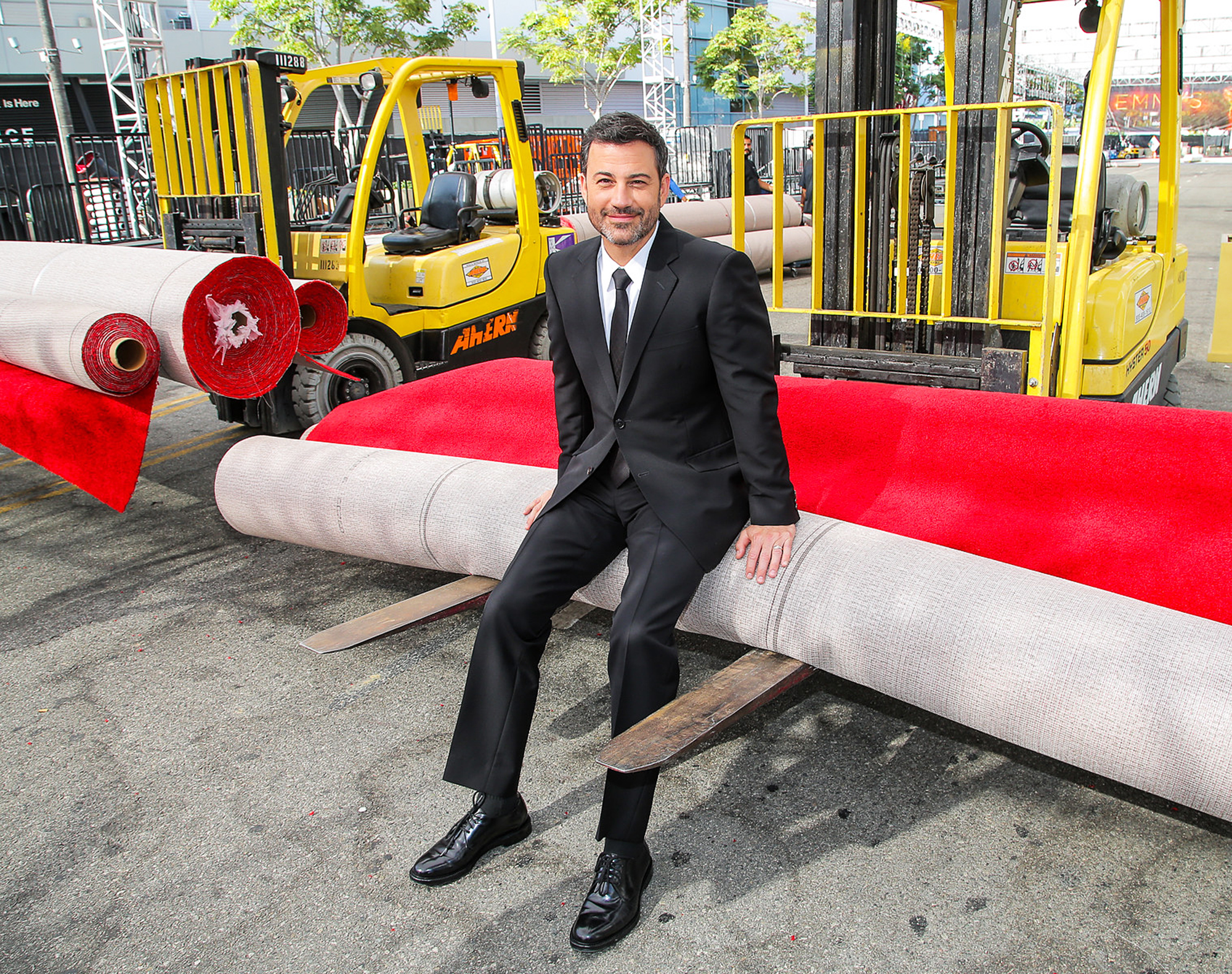 Jimmy Kimmel with the EMMY Red Carpet, before roll out, in Los Angeles, on Sept. 14, 2016.