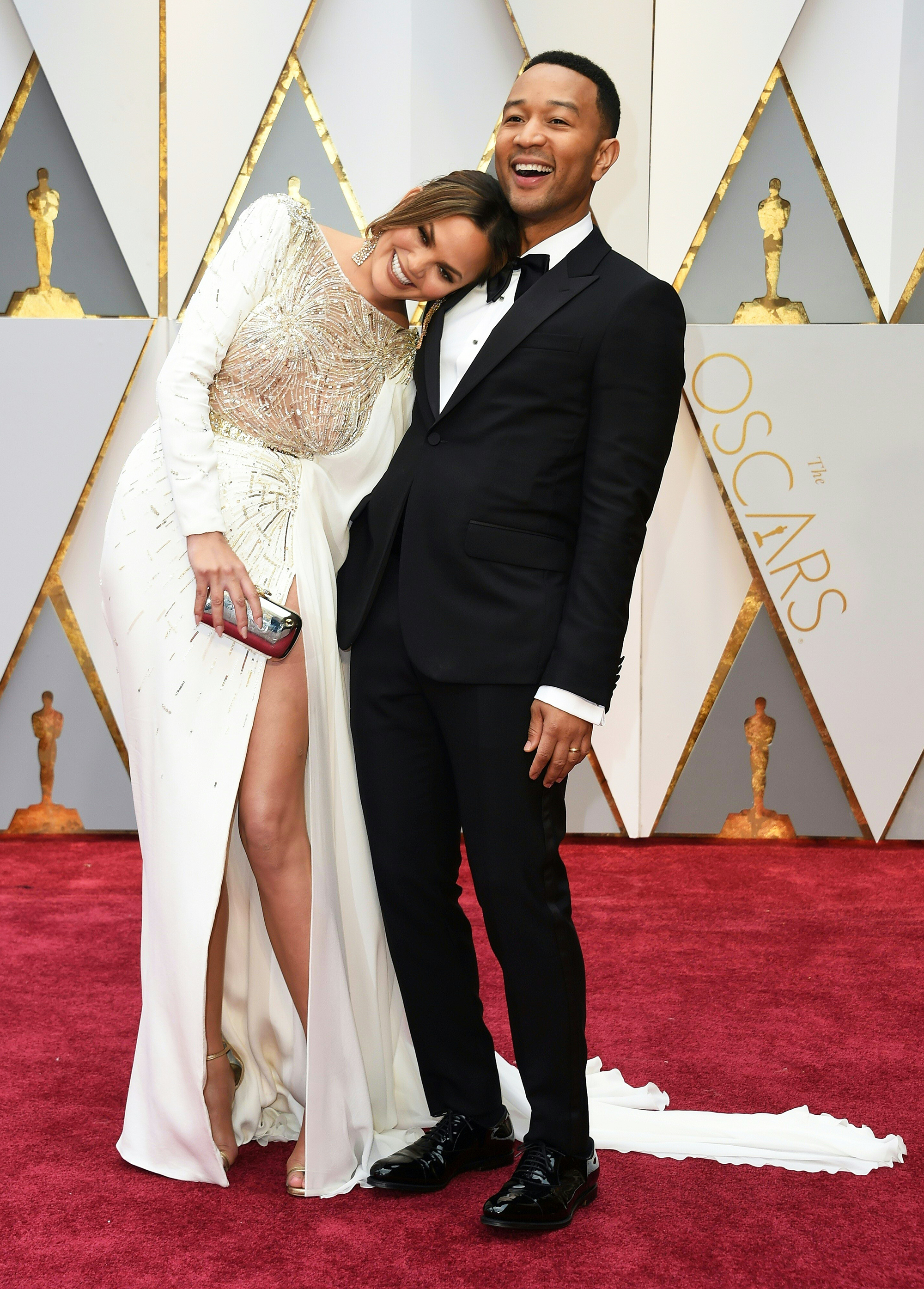 John Legend and Chrissy Teigen on the red carpet for the 89th Oscars, on Feb. 26, 2017 in Hollywood, Calif.