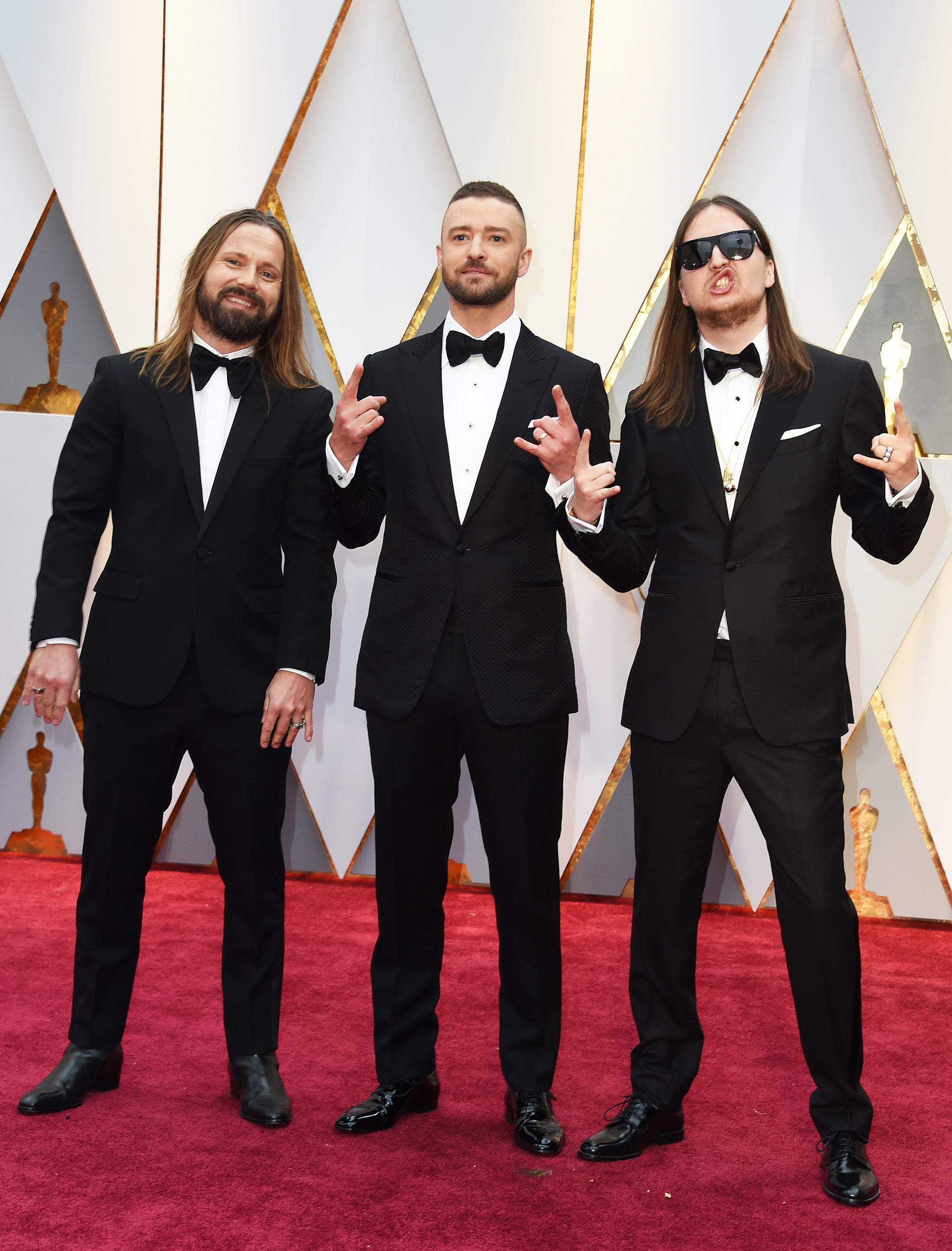 Max Martin, Justin Timberlake and Karl Johan Schuster on the red carpet for the 89th Oscars, on Feb. 26, 2017 in Hollywood, Calif.