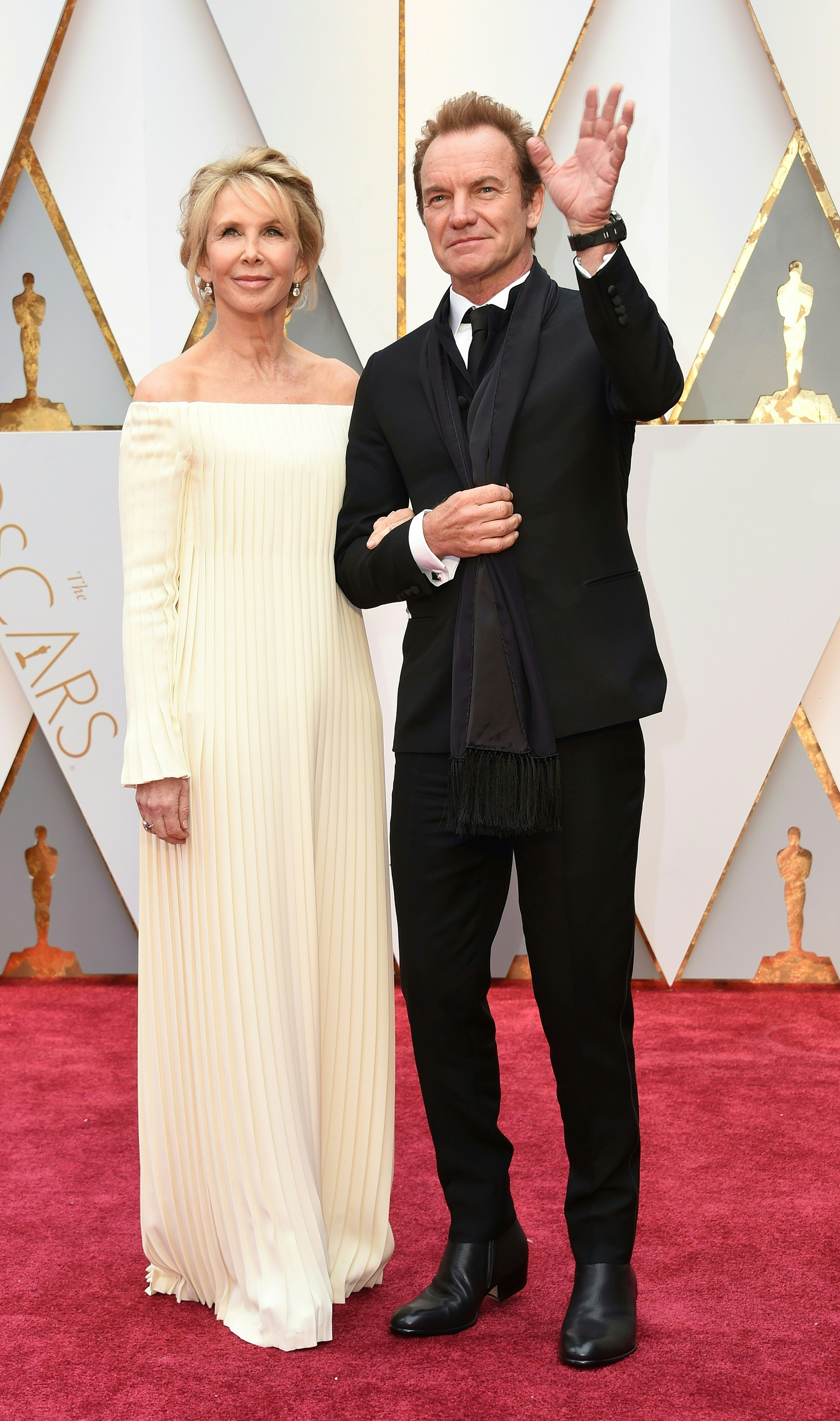 Trudie Styler and Sting on the red carpet for the 89th Oscars, on Feb. 26, 2017 in Hollywood, Calif.