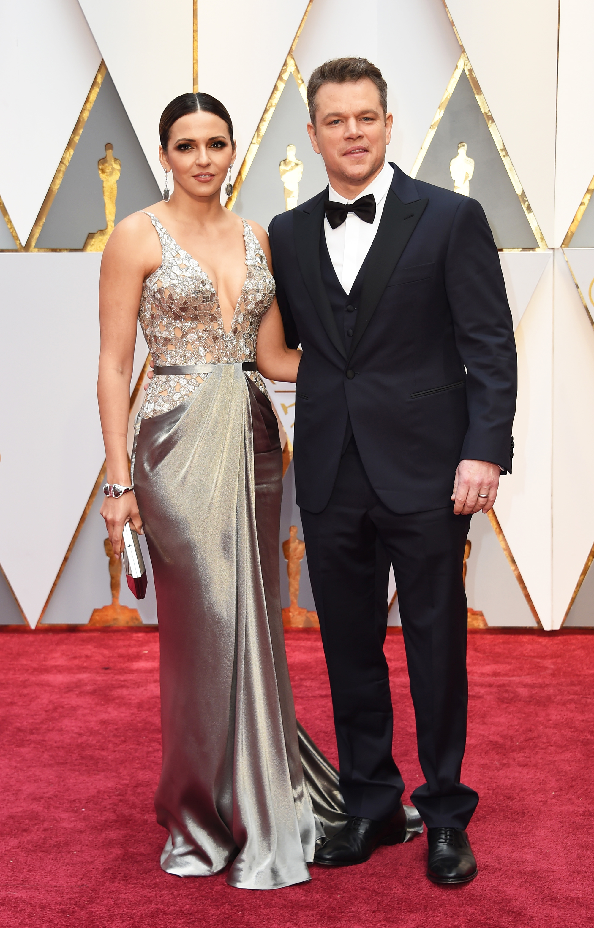 Luciana Barroso and Matt Damon on the red carpet for the 89th Oscars, on Feb. 26, 2017 in Hollywood, Calif.