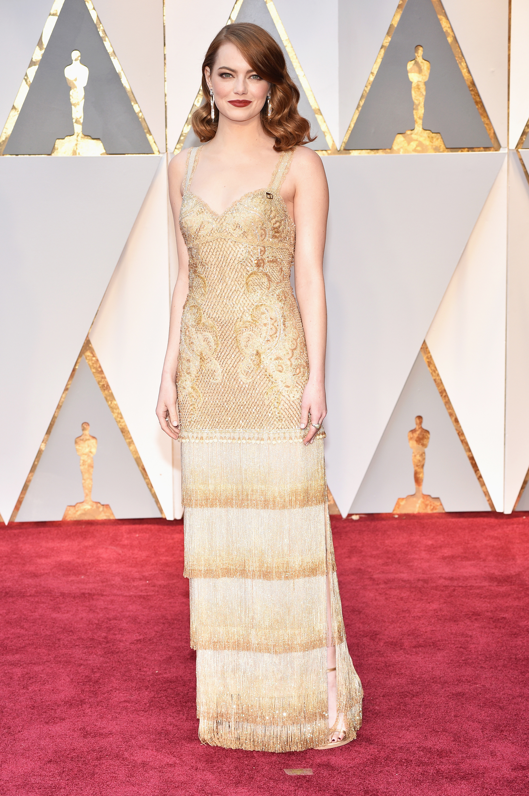 Emma Stone on the red carpet for the 89th Oscars, on Feb. 26, 2017 in Hollywood, Calif.