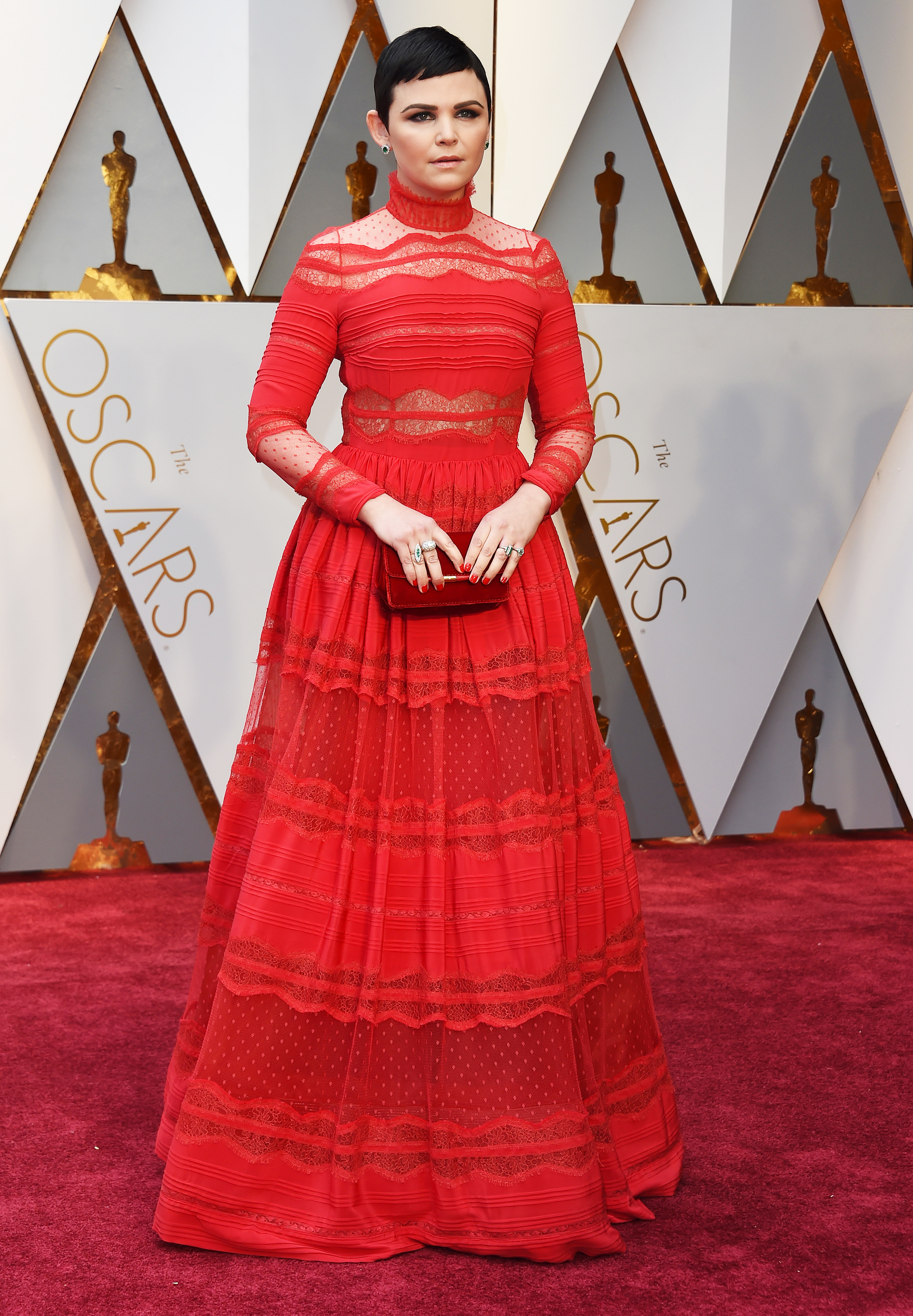 Ginnifer Goodwin on the red carpet for the 89th Oscars, on Feb. 26, 2017 in Hollywood, Calif.