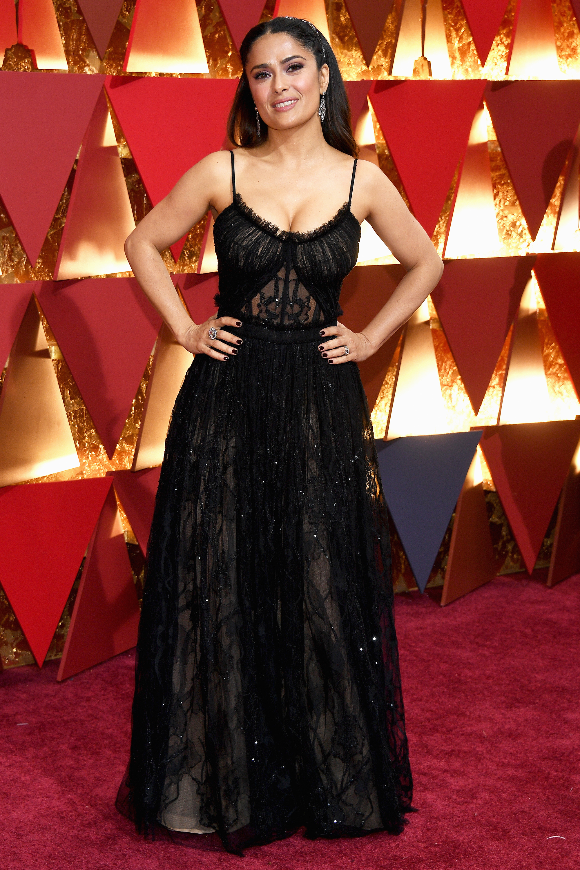 Salma Hayek on the red carpet for the 89th Oscars, on Feb. 26, 2017 in Hollywood, Calif.