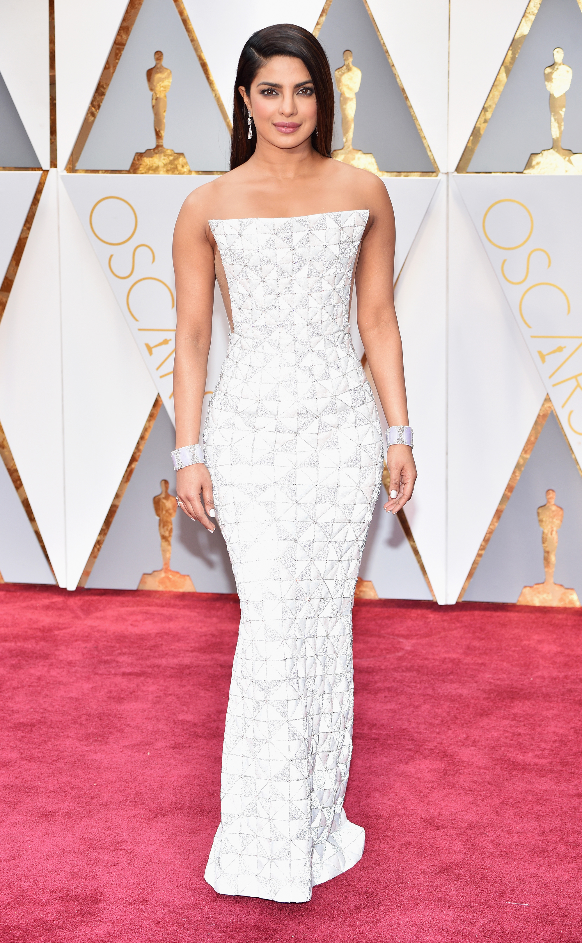 Priyanka Chopra on the red carpet for the 89th Oscars, on Feb. 26, 2017 in Hollywood, Calif.
