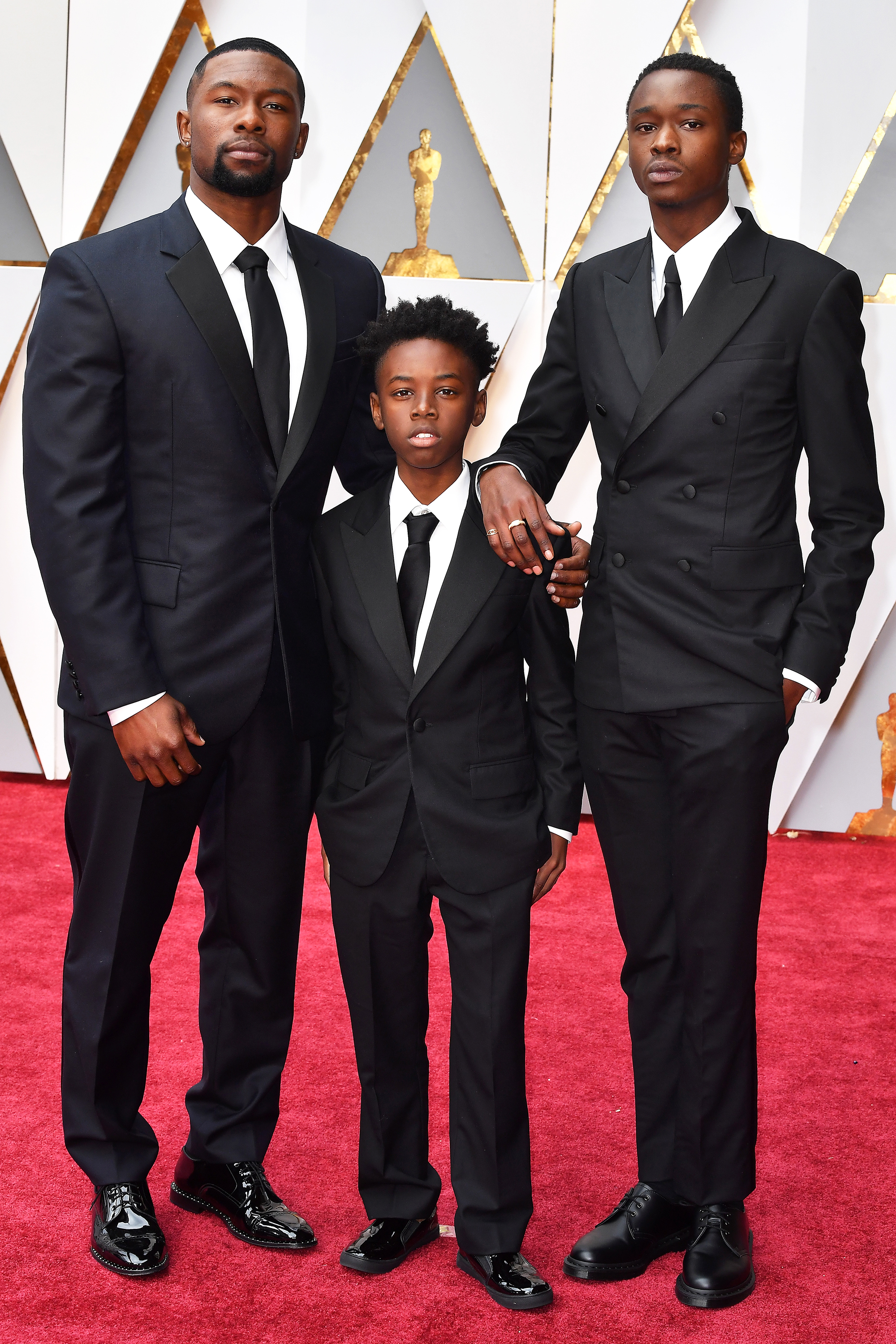 Trevante Rhodes, Alex R. Hibbert and Ashton Sanders on the red carpet for the 89th Oscars, on Feb. 26, 2017 in Hollywood, Calif.