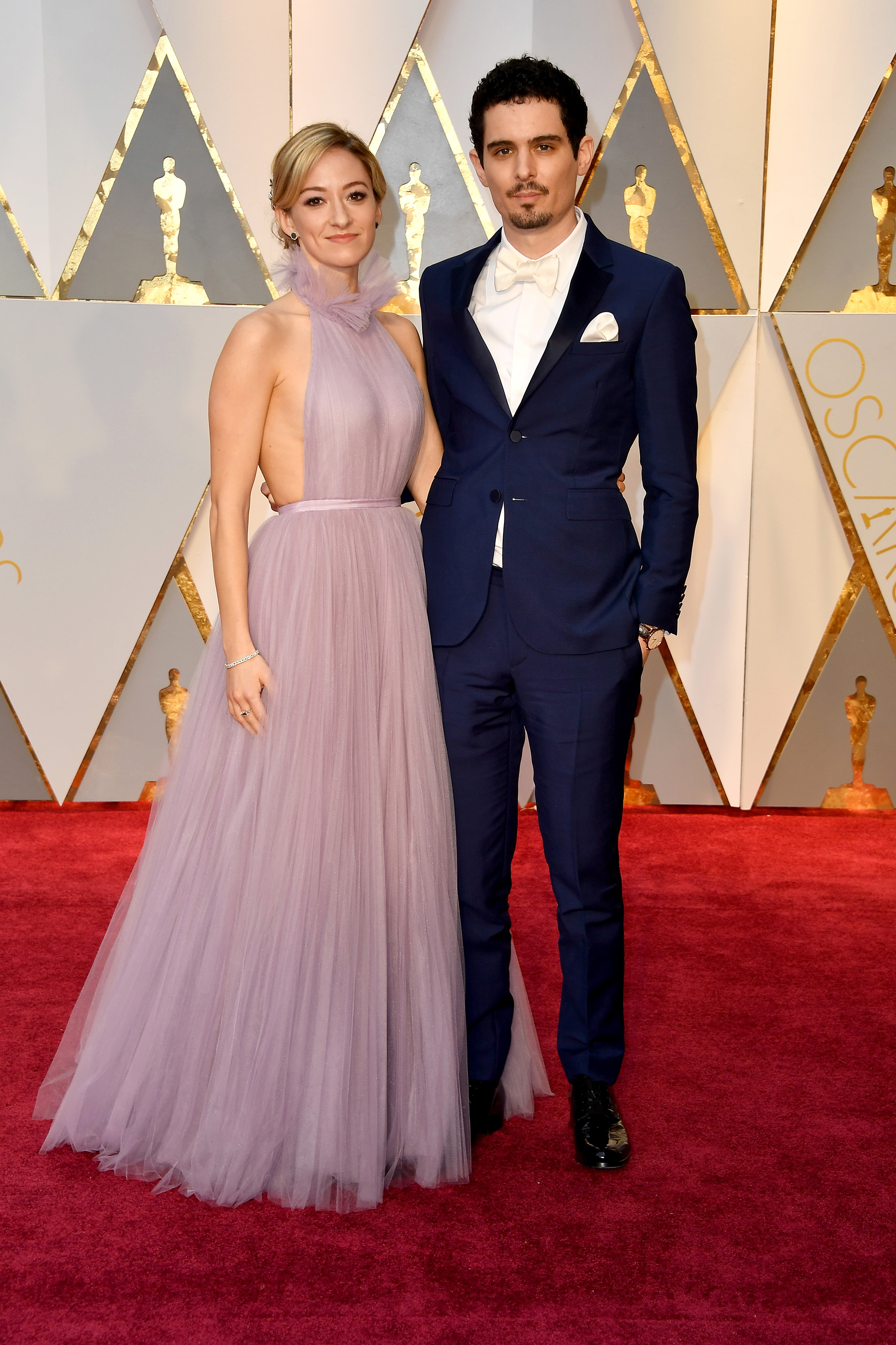 Olivia Hamilton and Damien Chazelle on the red carpet for the 89th Oscars, on Feb. 26, 2017 in Hollywood, Calif.