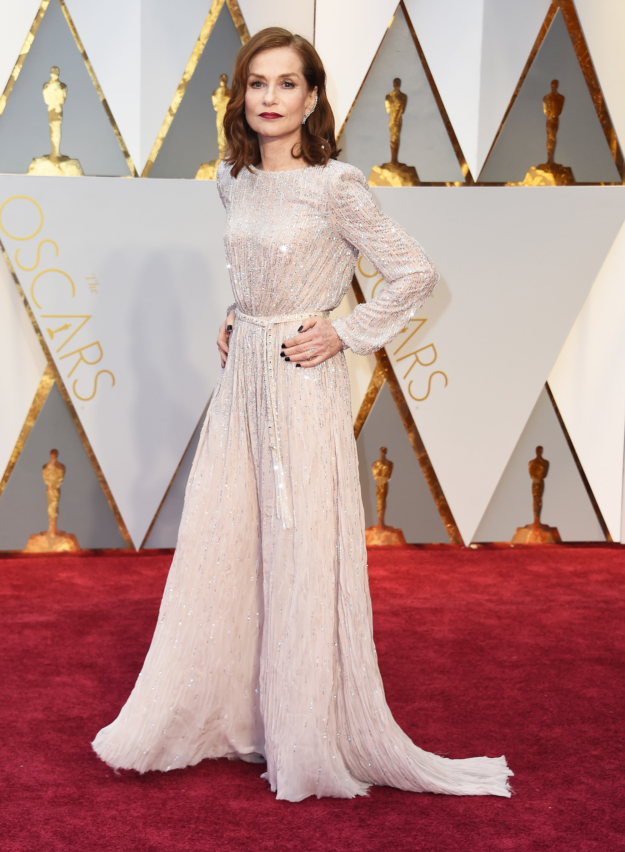 Isabelle Huppert on the red carpet for the 89th Oscars, on Feb. 26, 2017 in Hollywood, Calif.