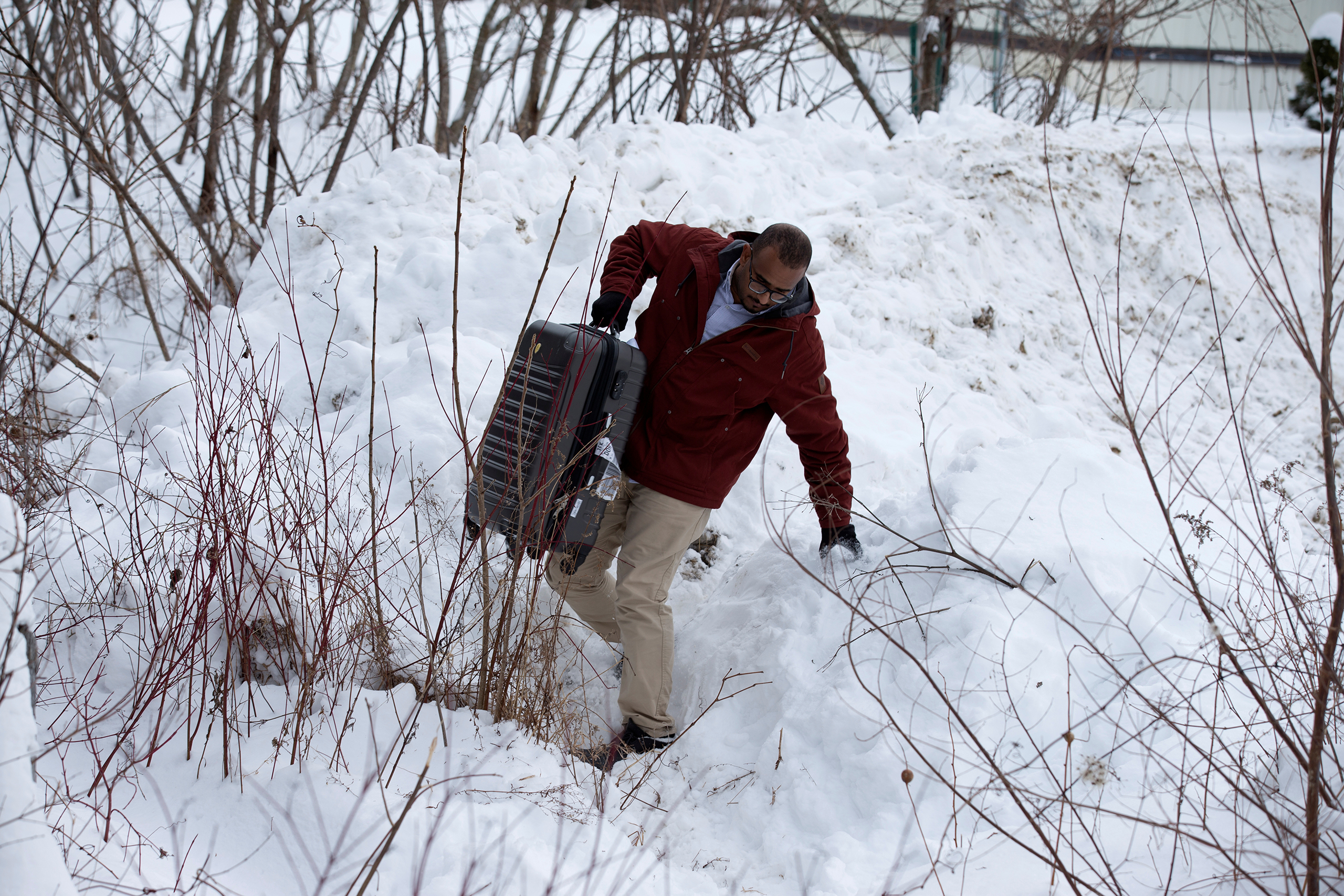 A man from Yemen attempts to cross the U.S.-Canada border into Hemmingford, Quebec, on Feb. 14, 2017.