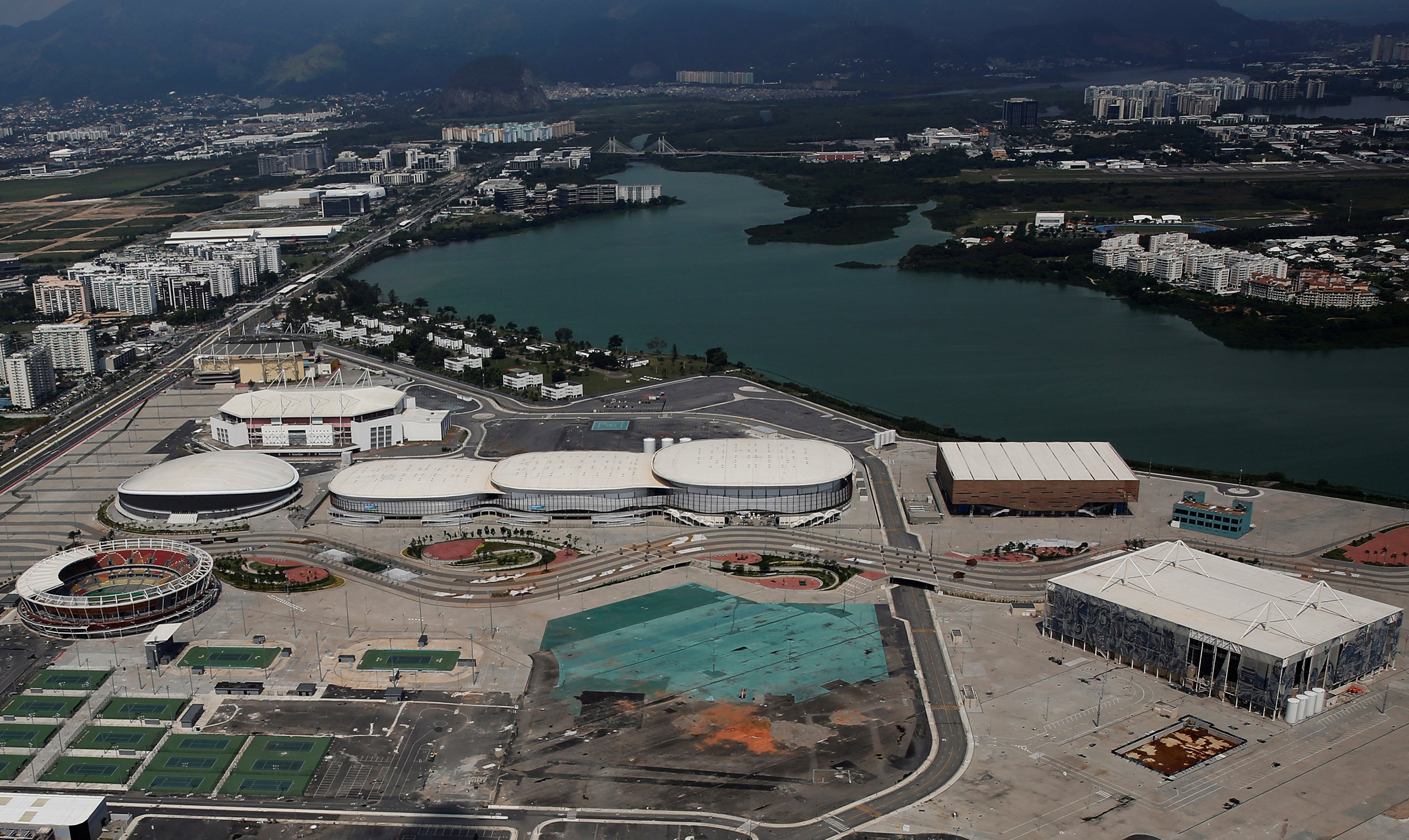 An aerial view shows the Olympic park which was used for the Rio 2016 Olympic Games, in Rio de Janeiro, Brazil on Jan. 15, 2017.
