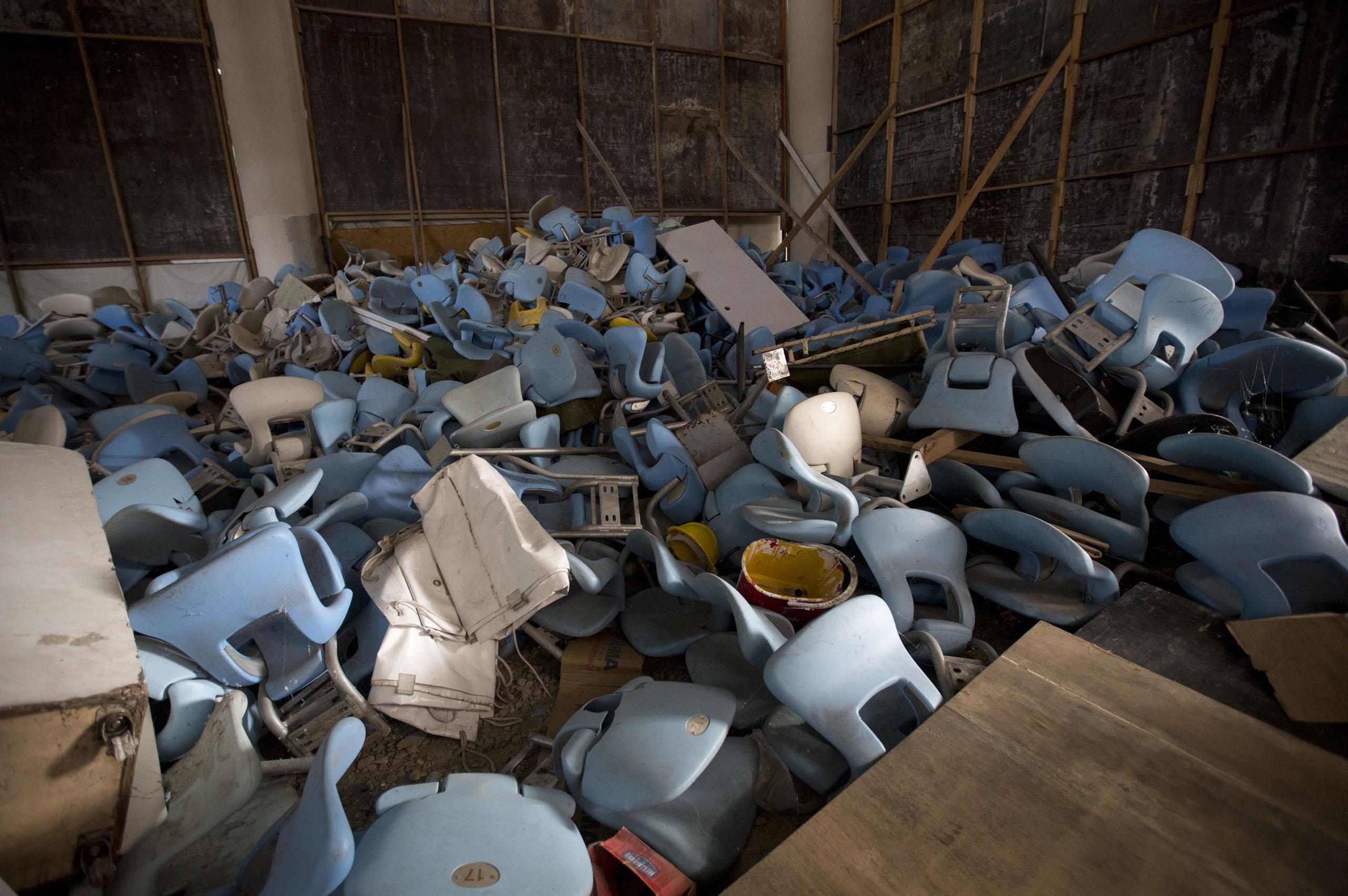 Seats jumbled in a pile inside Maracana stadium in Rio de Janeiro, Brazil on Feb. 2, 2017.