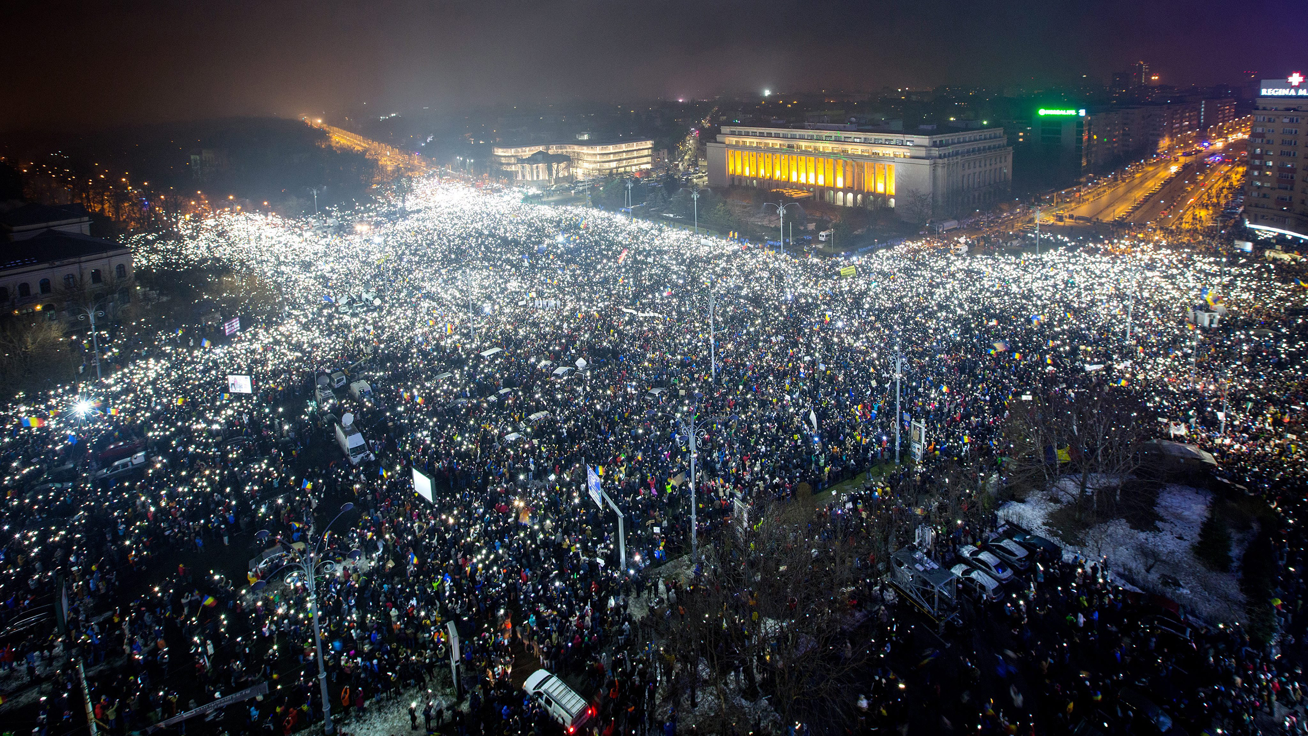 A general view of the massive protest at Victory Square in Bucharest on Feb. 5, 2017.