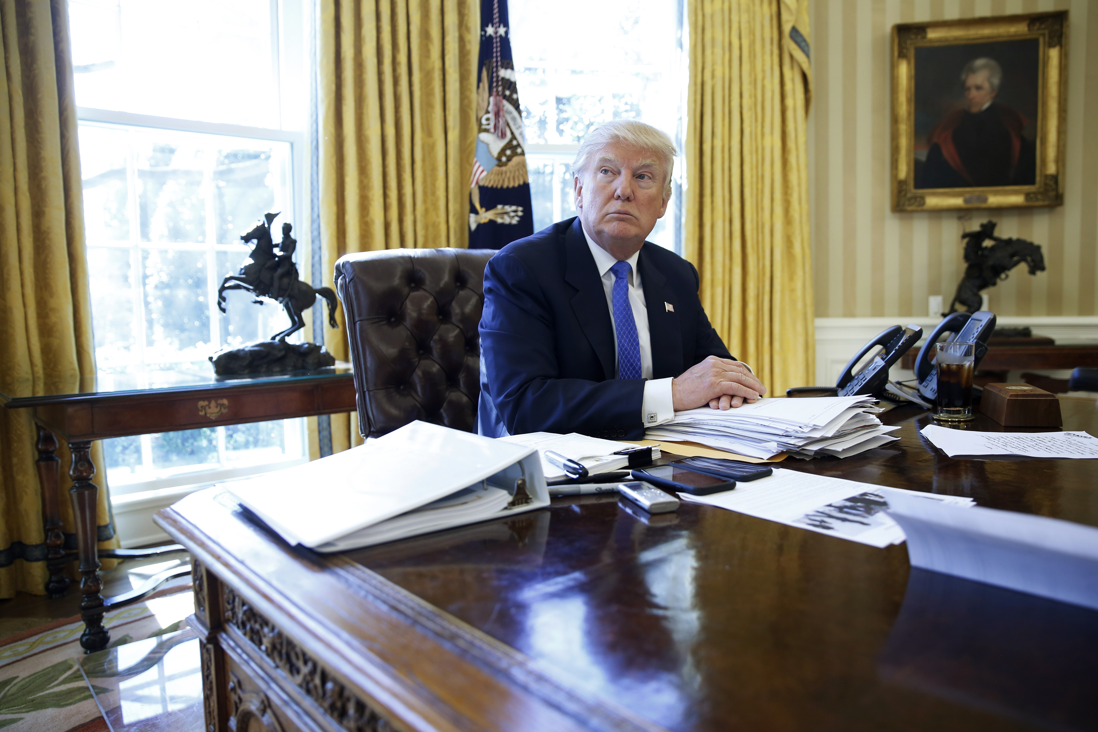 U.S. President Donald Trump is interviewed by Reuters in the Oval Office at the White House in Washington, U.S., February 23, 2017.