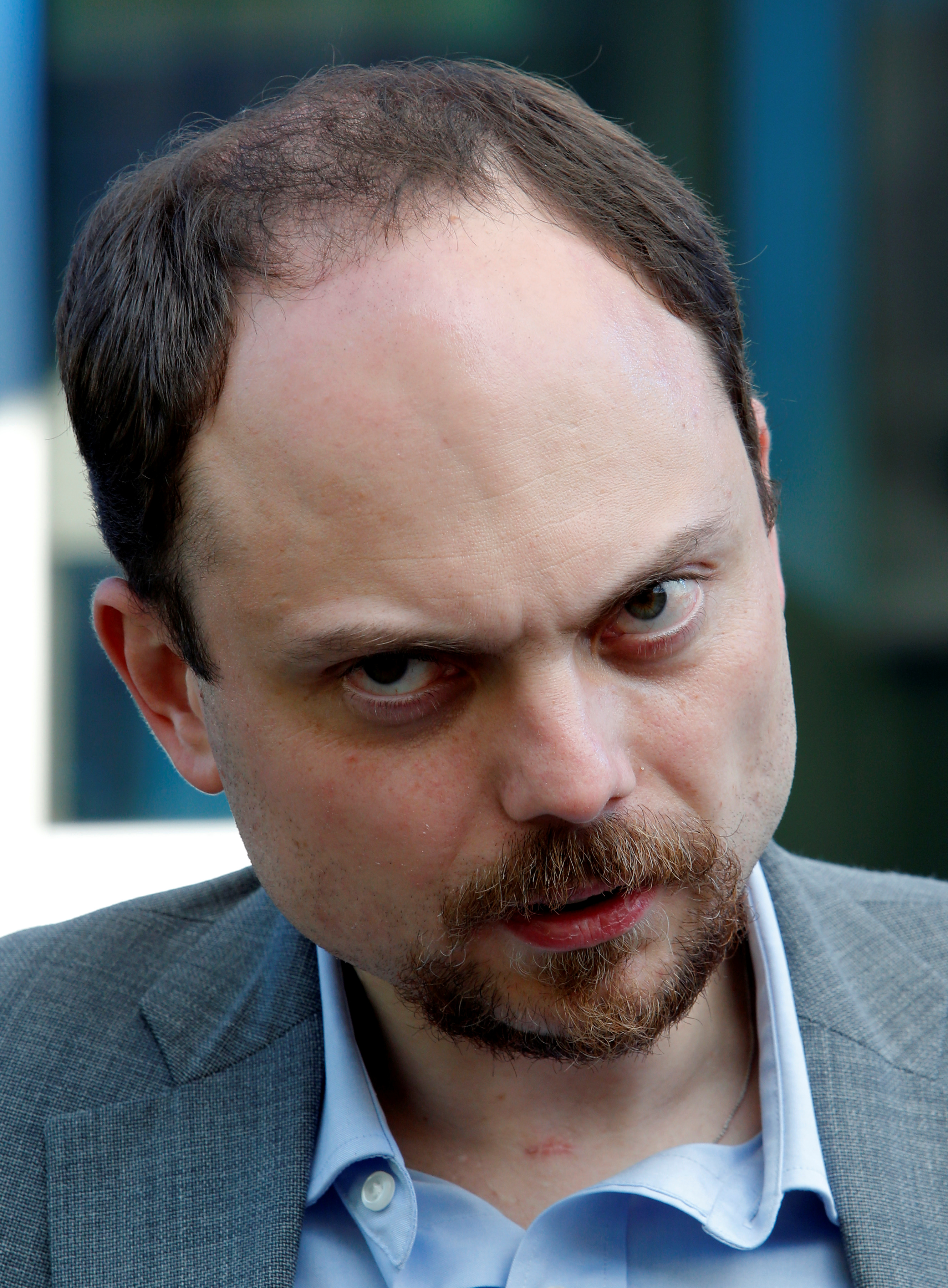Russian opposition activist Vladimir Kara-Murza following a visit of deputy candidates to the State Duma in Moscow on June 1, 2016