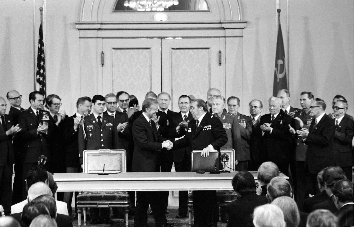 Salt II agreement In Vienna in June, 1979 - Jimmy Carter and Leonid Brezhnev handshake.