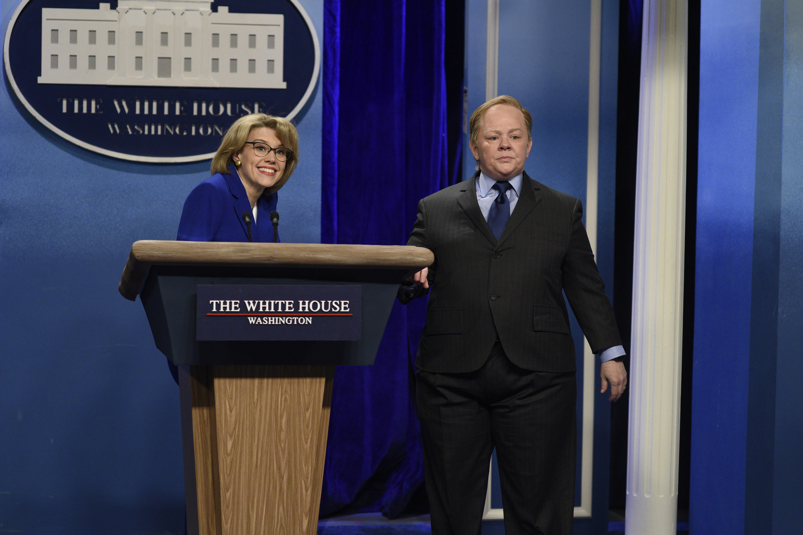 Kate McKinnon as Betsy DeVos, and Melissa McCarthy as Press Secretary Sean Spicer during the  Sean Spicer Press Conference  sketch on Feb. 4, 2017.