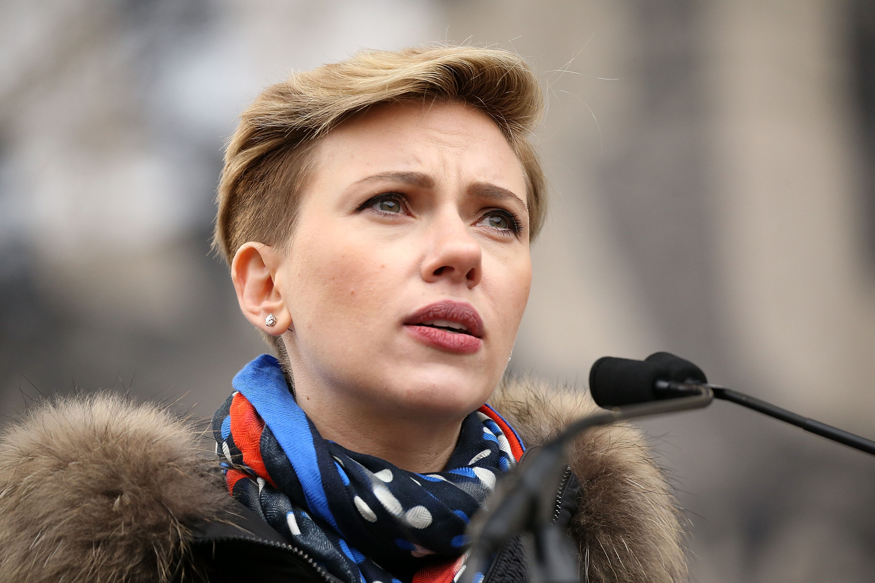 Scarlett Johansson speaks onstage during the rally at the Women's March on Washington on January 21, 2017 in Washington, DC.