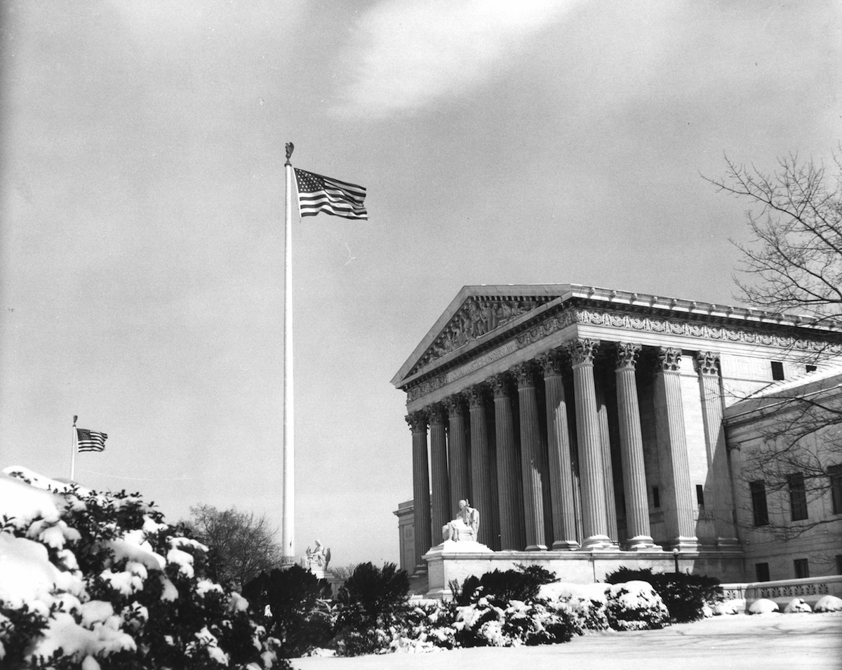 Exterior view of the United States Supreme Court Building, Washington, D.C., 1960.