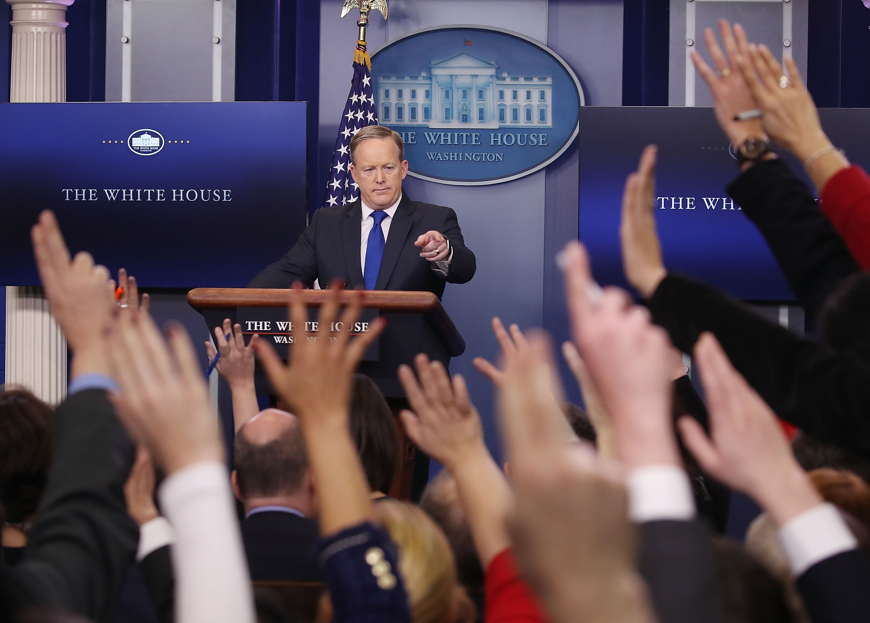 White House Press Secretary Sean Spicer takes questions from reporters in the Brady Press Briefing Room at the White House on Feb. 1, 2017.