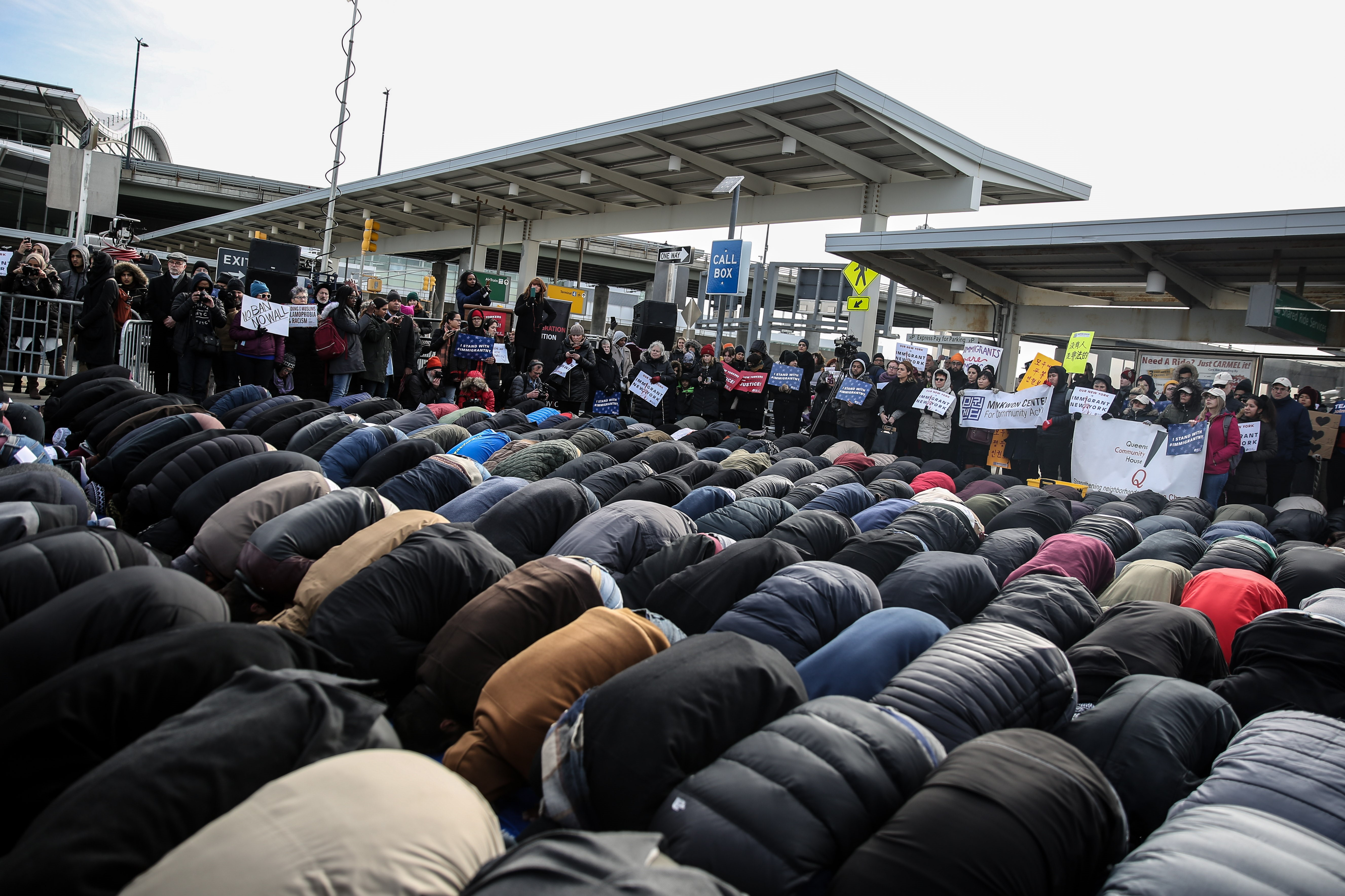 Muslim Americans perform Friday Prayer at JFK Airport as a protest against President Donald J. Trump's executive order banning entry of 7 Muslim-majority countries of admission and visas for 90 days in Queens borough of New York, NY, on Feb. 3, 2017.