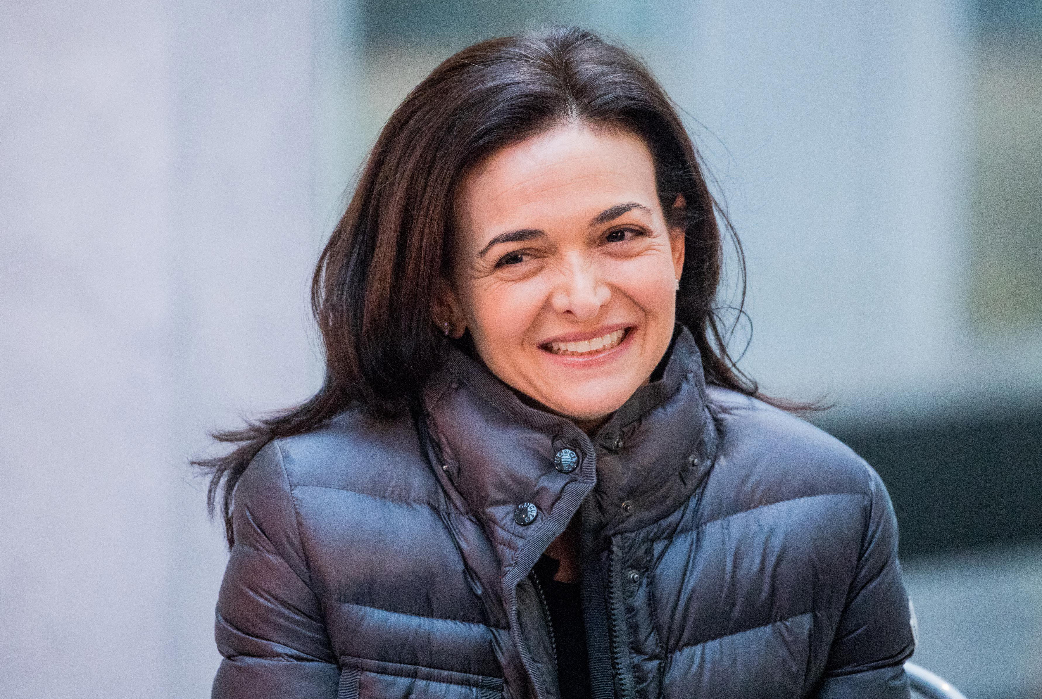 Sheryl Sandberg, chief operating officer of Facebook Inc., reacts during a news conference at Station F, a mega-campus for startups located inside a former freight railway depot, in Paris, France, on Tuesday, Jan. 17, 2017.