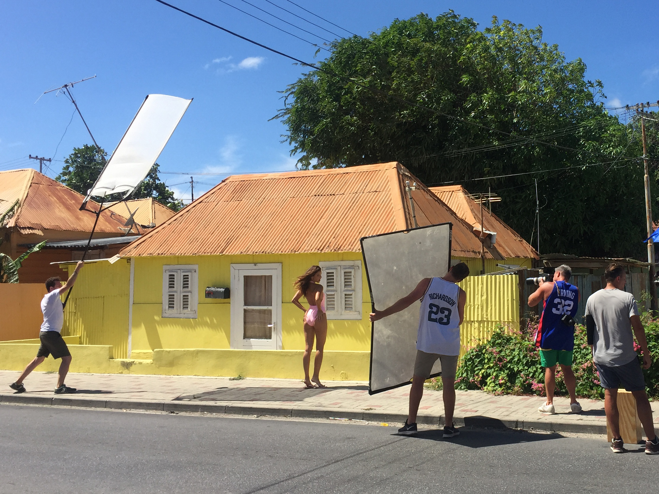 Barbara Palvin being photographed in Curacao