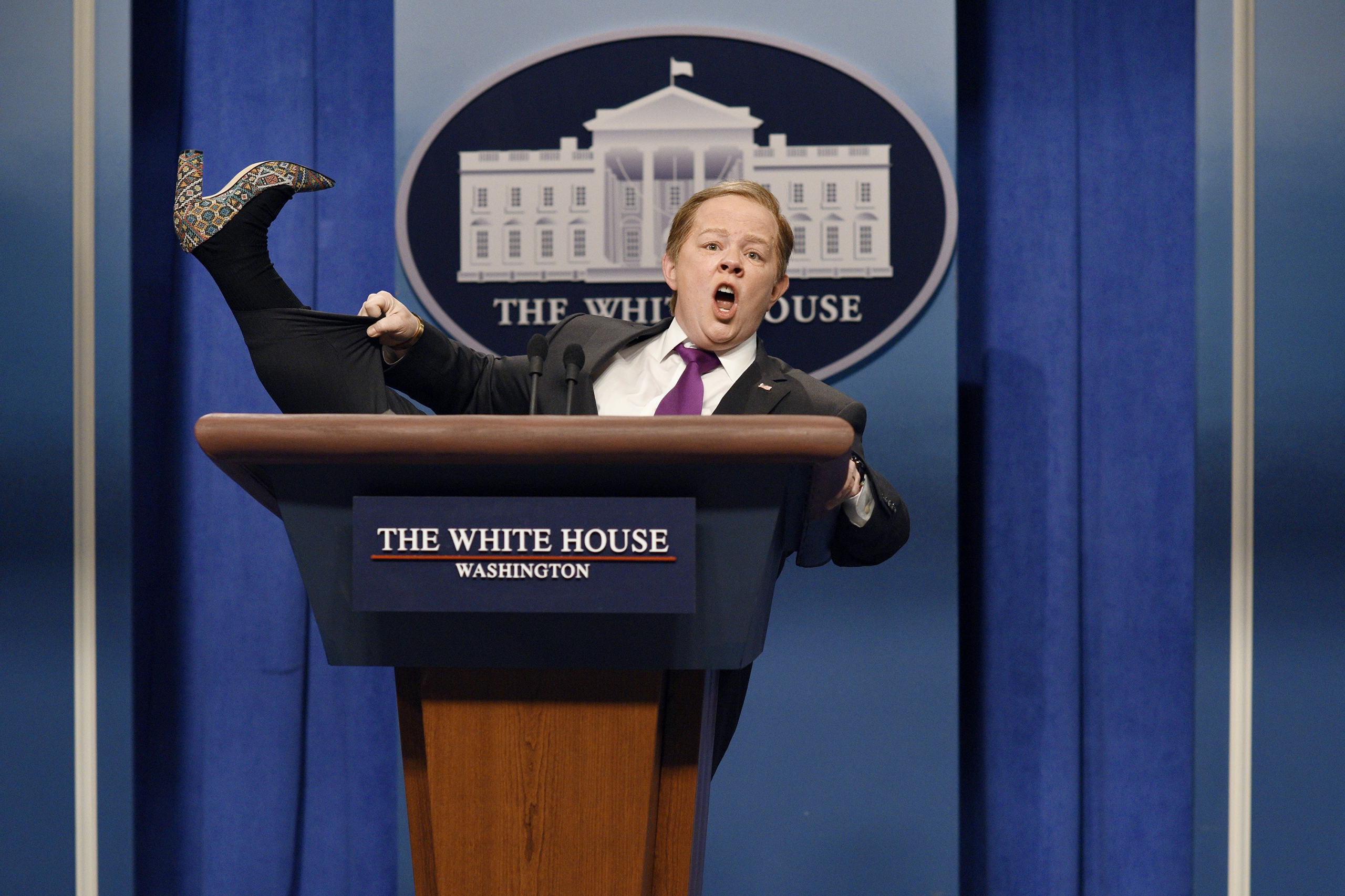 McCarthy's Spicer, an irate pitchman, praised his Ivanka Trump–brand heels to SNL viewers.