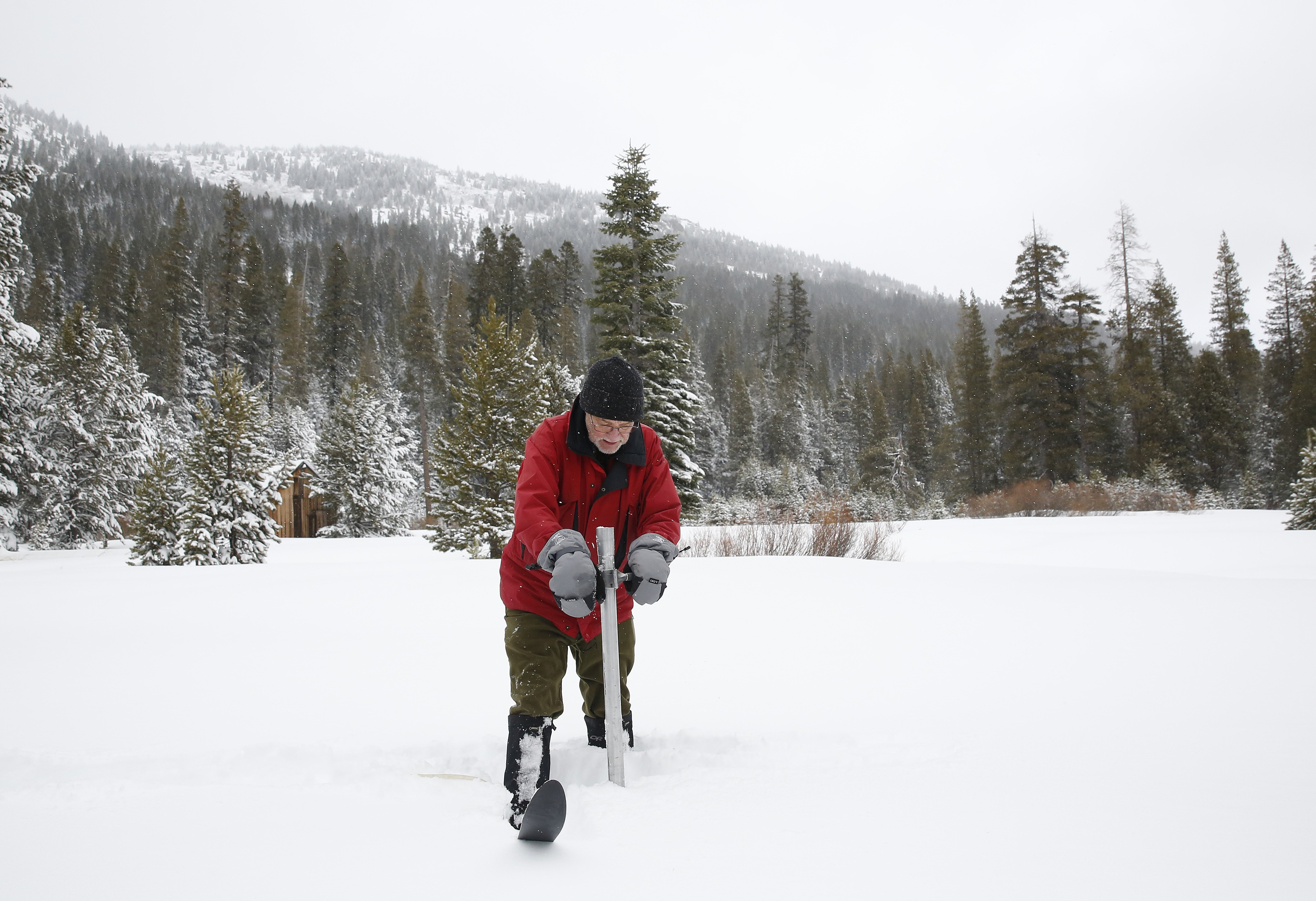 Frank Gehrke, chief of the California Cooperative Snow Surveys Program for the Department of Water Resources, plunges the survey tube into the snowpack as he conducts the first snow survey of the season at Phillips Station near Echo Summit, CA, on Jan. 3, 2017.